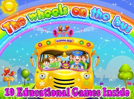 "The Wheels on The BusCost: FreeAges: 5 and under Your kids will love dancing and singing along to ""Wheels on the Bus,"" with this app's graphics and sounds. Nine other interactive and educational games are available for your kids to play including memory match, coloring, playing music, and more."