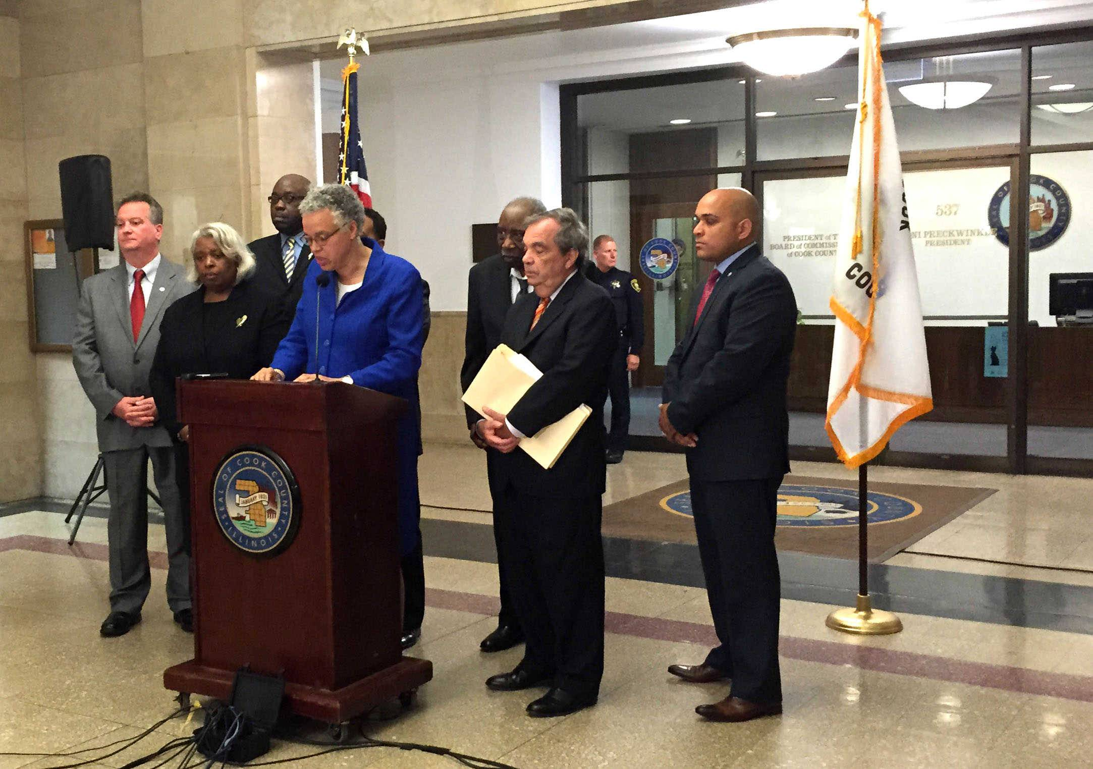 Cook County Board President Toni Preckwinkle talks to reporters about a sales tax increase.