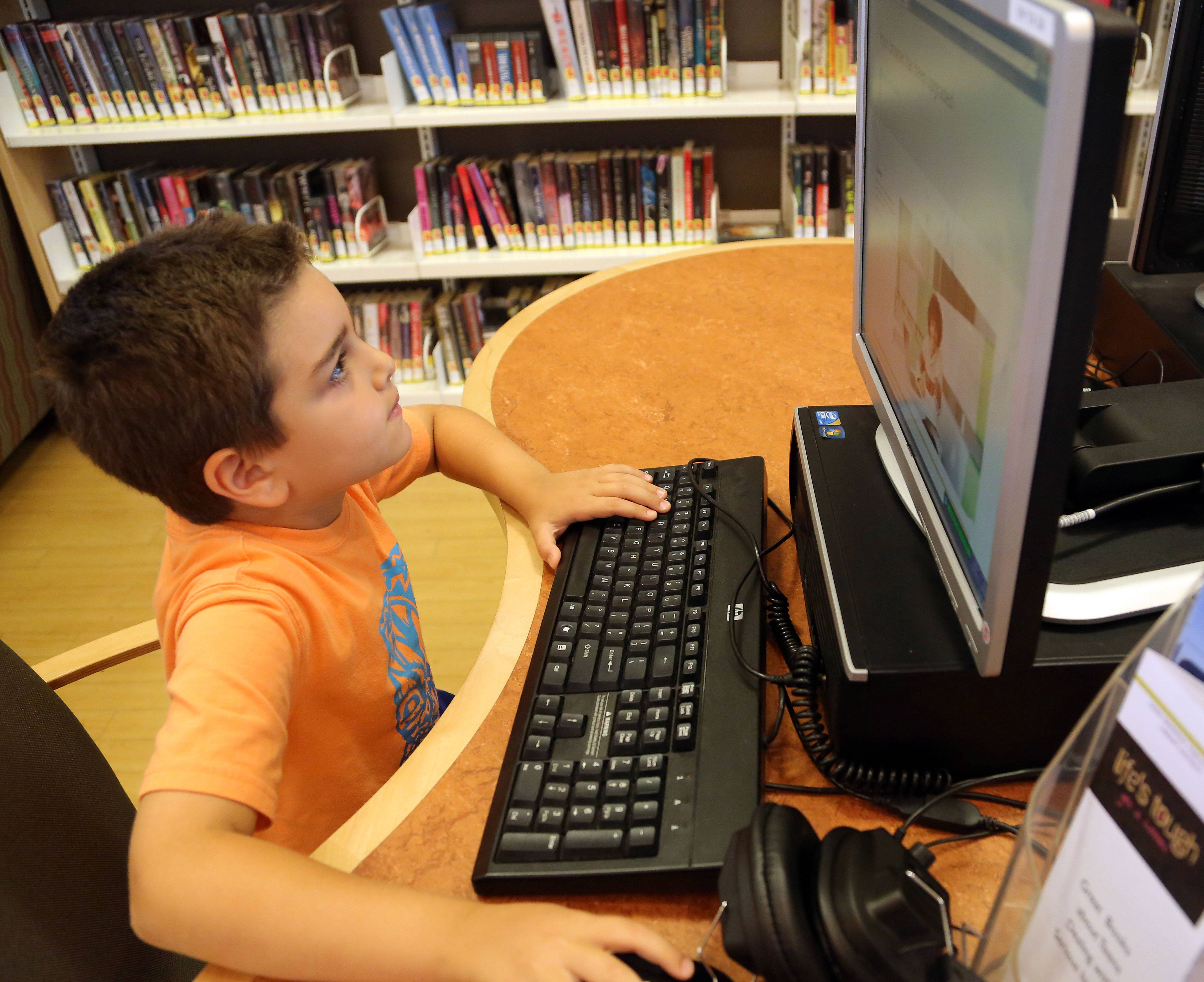 Seven-year-old Filip Janesky of Vernon Hills uses a computer at the Aspen Drive Library in Vernon Hills.