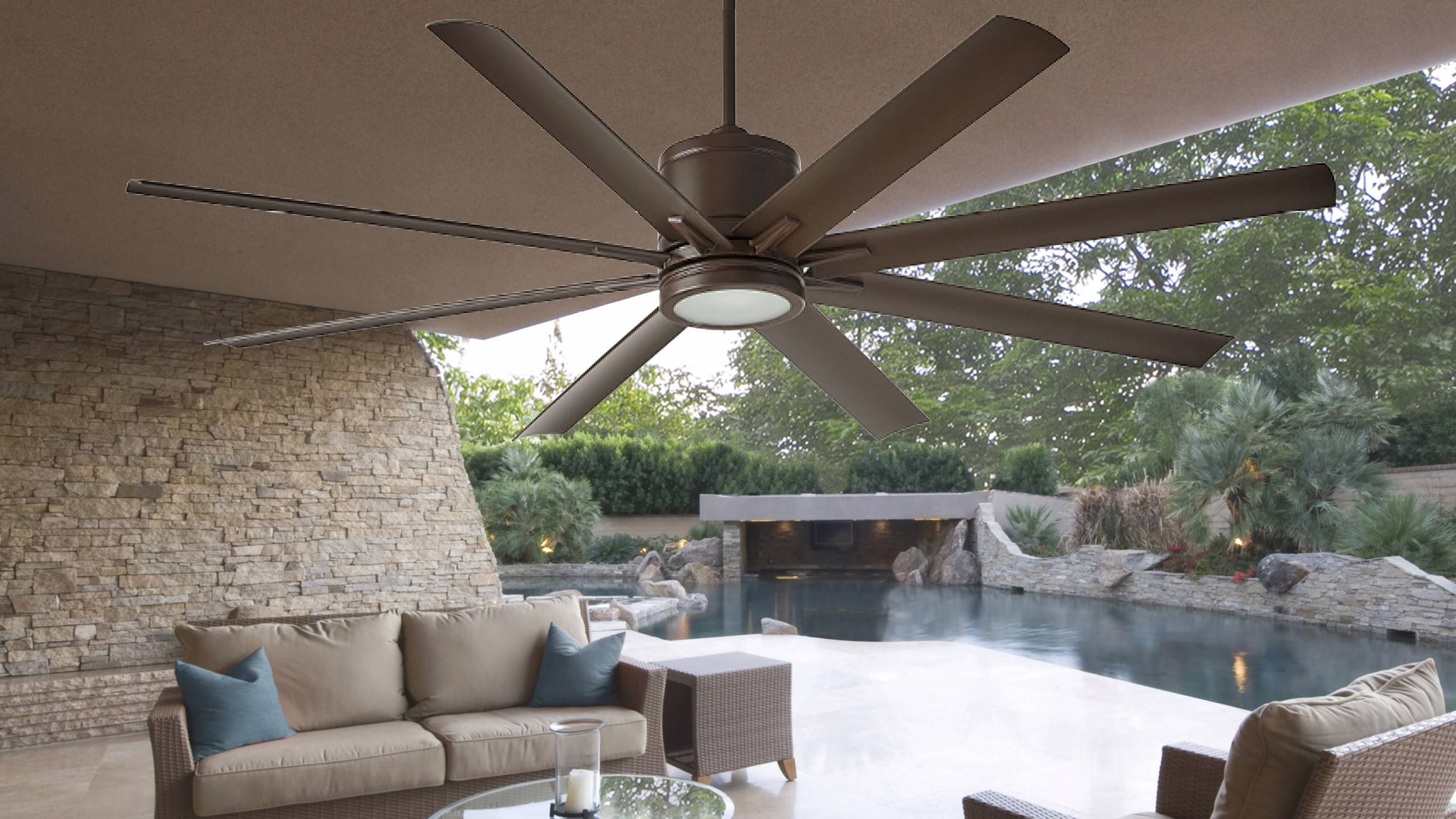Ceiling fans come in all shapes and sizes, with some models ruggedly designed for outdoor installations.