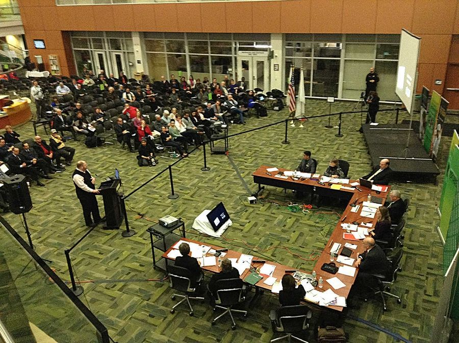 The College of DuPage board meeting with an accreditation agency will be public, though not necessarily in a meeting room as big as this one in February.