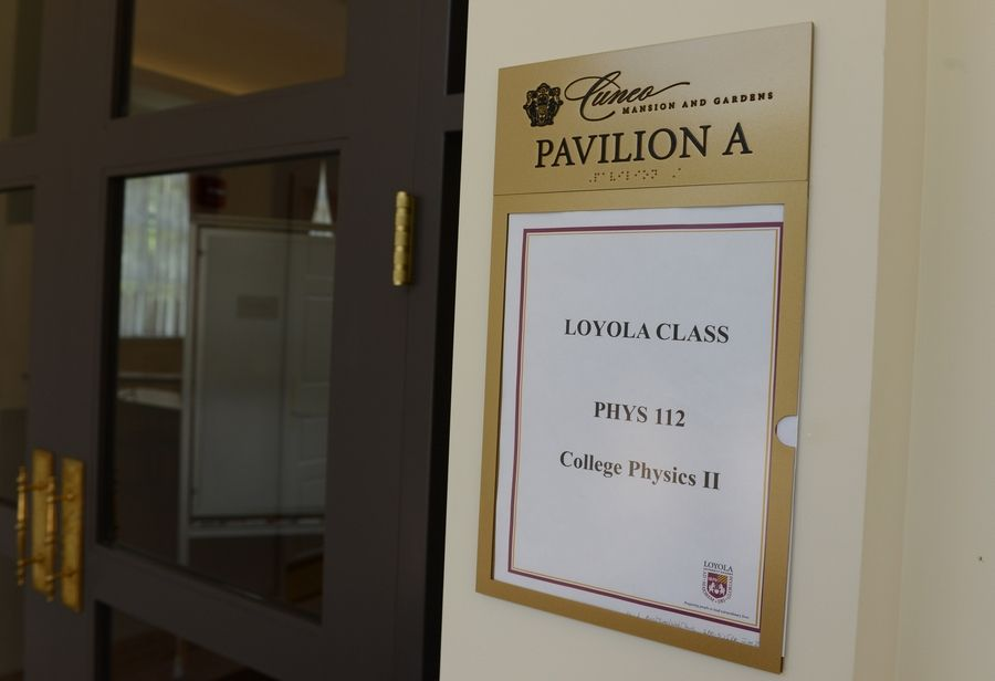 Loyola University holds classes in the pavilion at the Cuneo Mansion & Gardens in Vernon Hills.