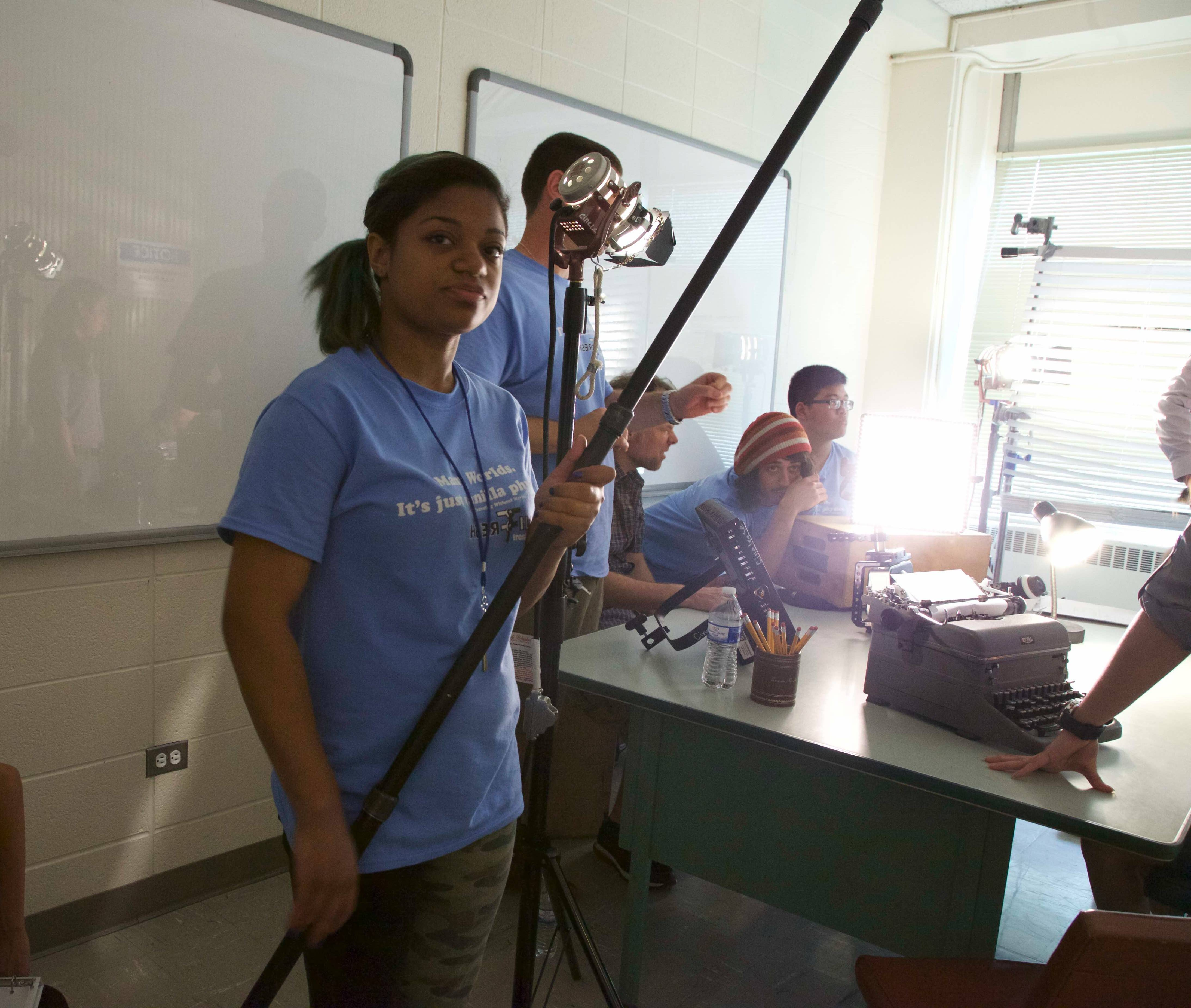 "Esperanza Golden of Elgin joins in the filming production of ""Traveling Without Moving."""