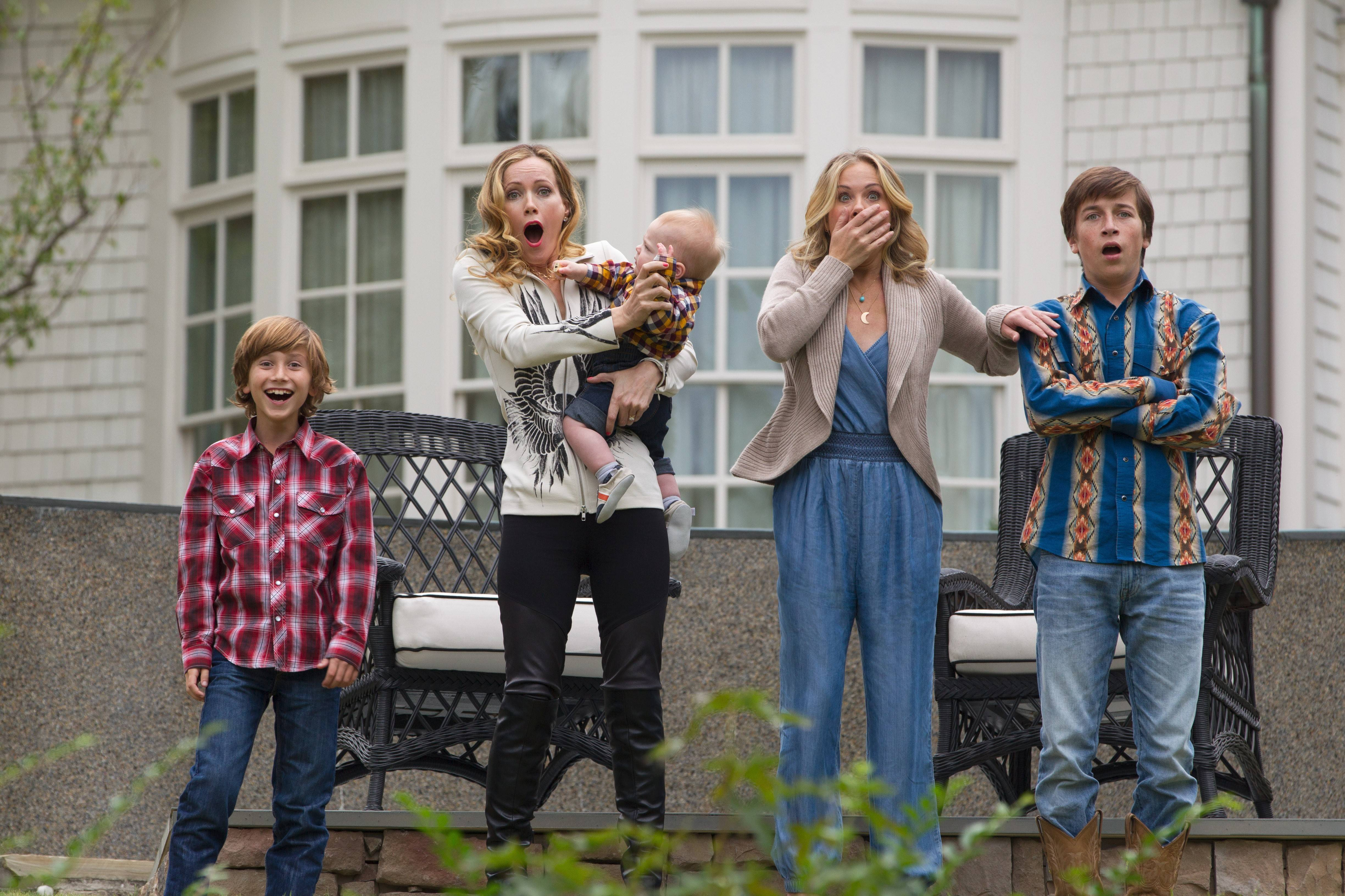 "Kevin (Steele Stebbins), Audrey (Leslie Mann), Debbie (Christina Applegate) and James (Skyler Gisondo) watch in horror as Rusty Griswold collides with a steer in the sequel ""Vacation."""