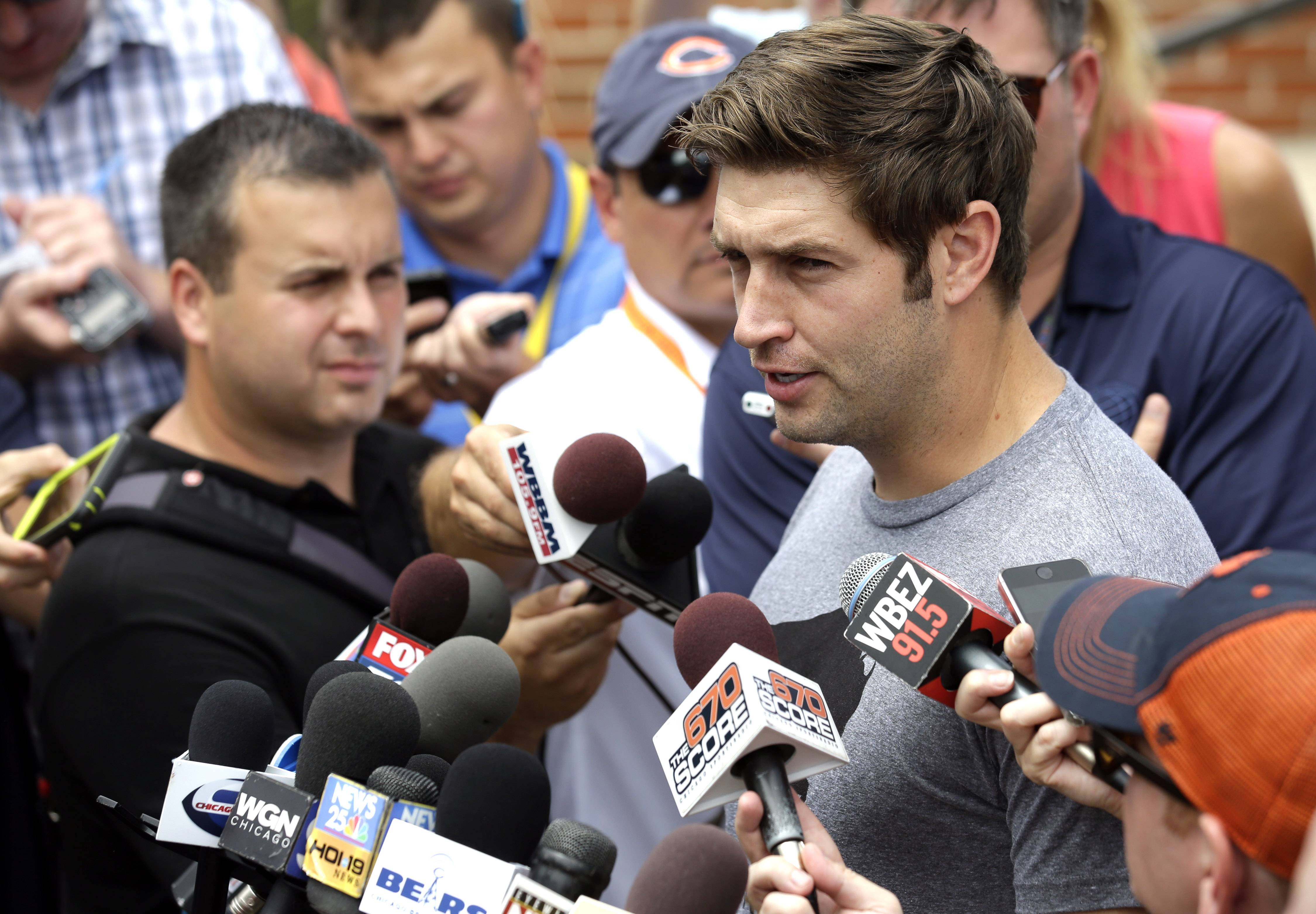 Chicago Bears quarterback Jay Cutler speaks during an NFL football training camp media availability at Olivet Nazarene University, Wednesday, July 29, 2015, in Bourbonnais, Ill.