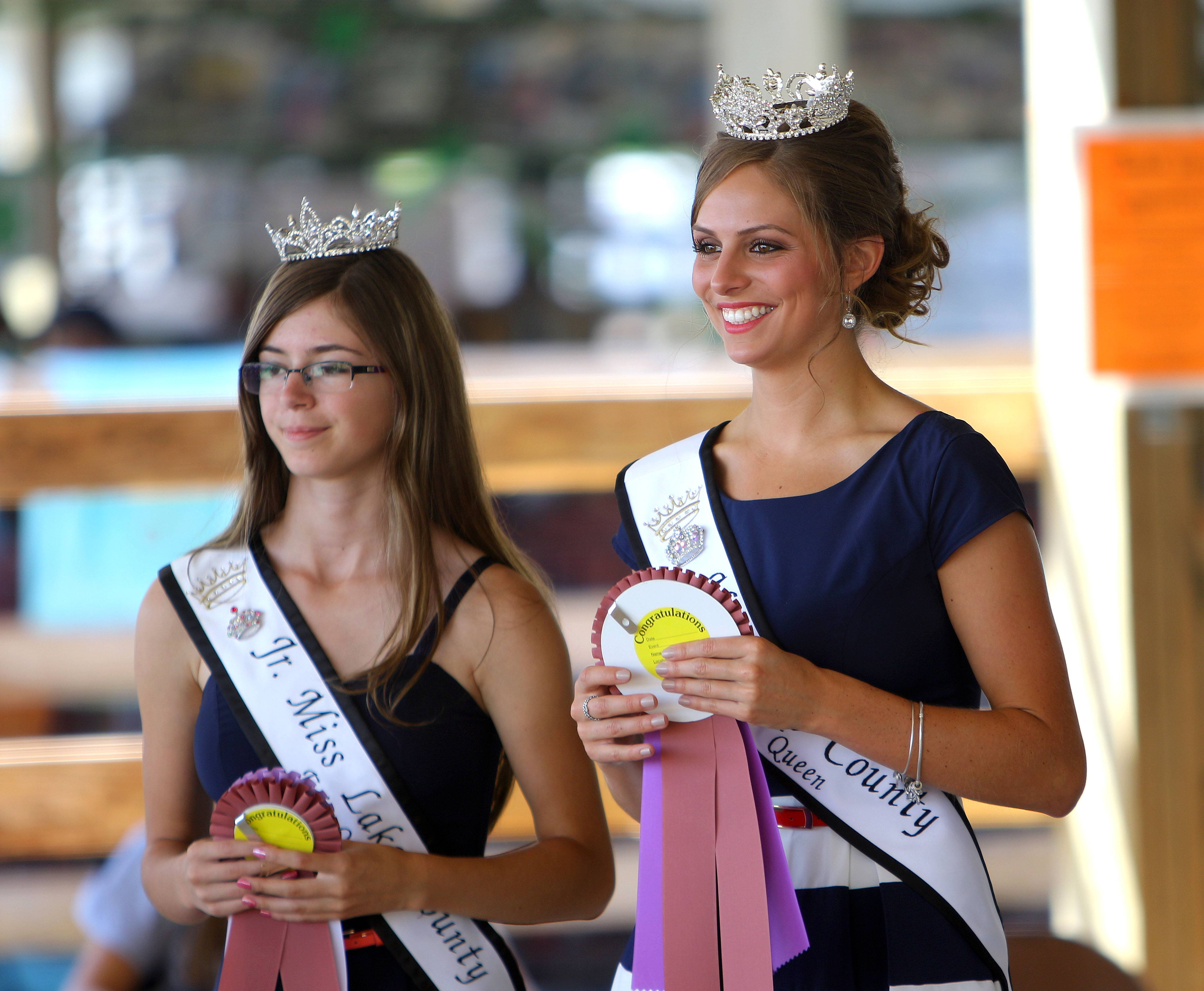 Miss Lake County Fair 2015 Bethani Jacobsen, 20 of Wauconda, cheers at the Banana Race during day 2 of the Lake County Fair in Grayslake Thursday.
