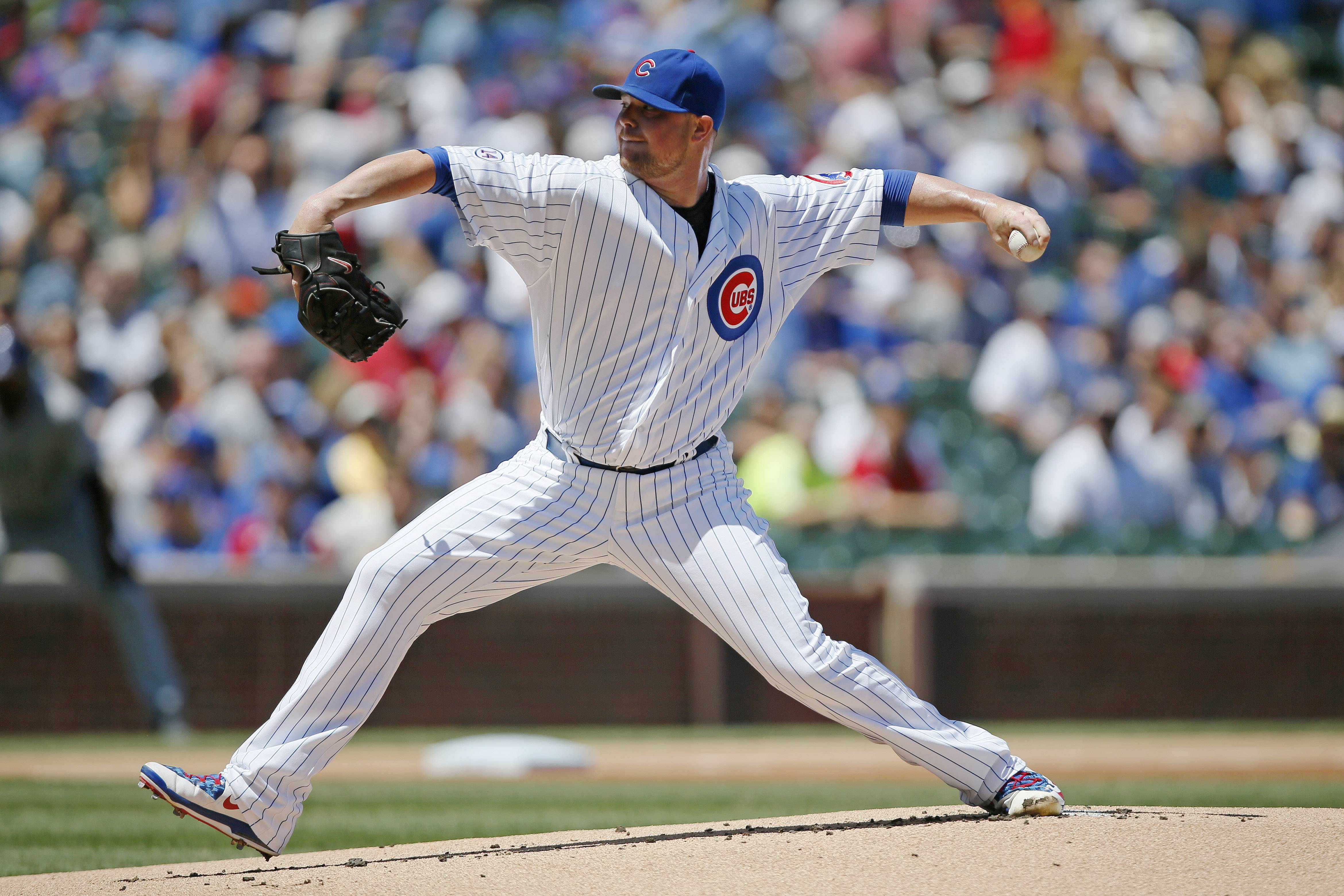 Starting pitcher Jon Lester struck out 14 over eight innings Wednesday to lead the Cubs to a 3-2 win over Colorado at Wrigley Field.