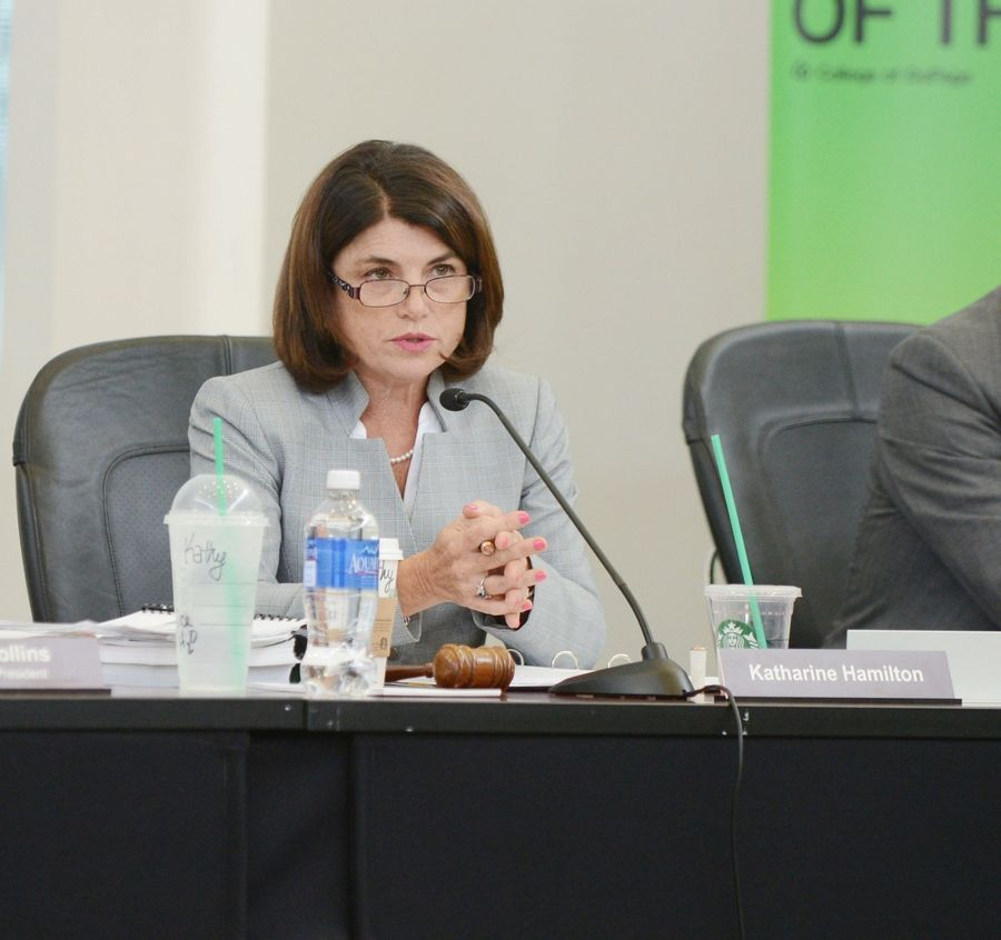 "College of DuPage board Chairwoman Katharine Hamilton called the unauthorized release of the audio recording ""a criminal matter."""