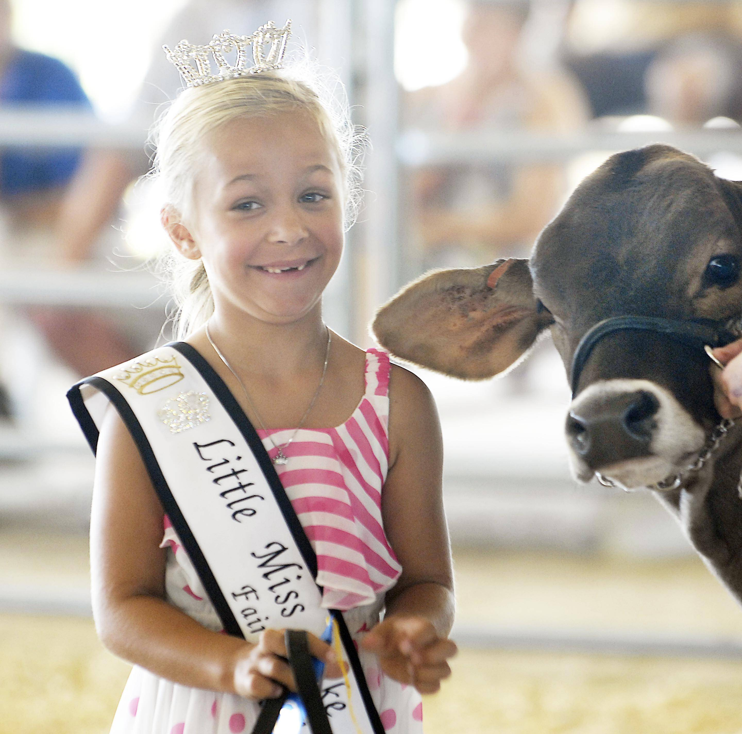 LIttle Miss Lake County Natalie Winquist, 7, of Gurnee, smiles with a dairy cow Friday at the Lake County Fair in Grayslake.