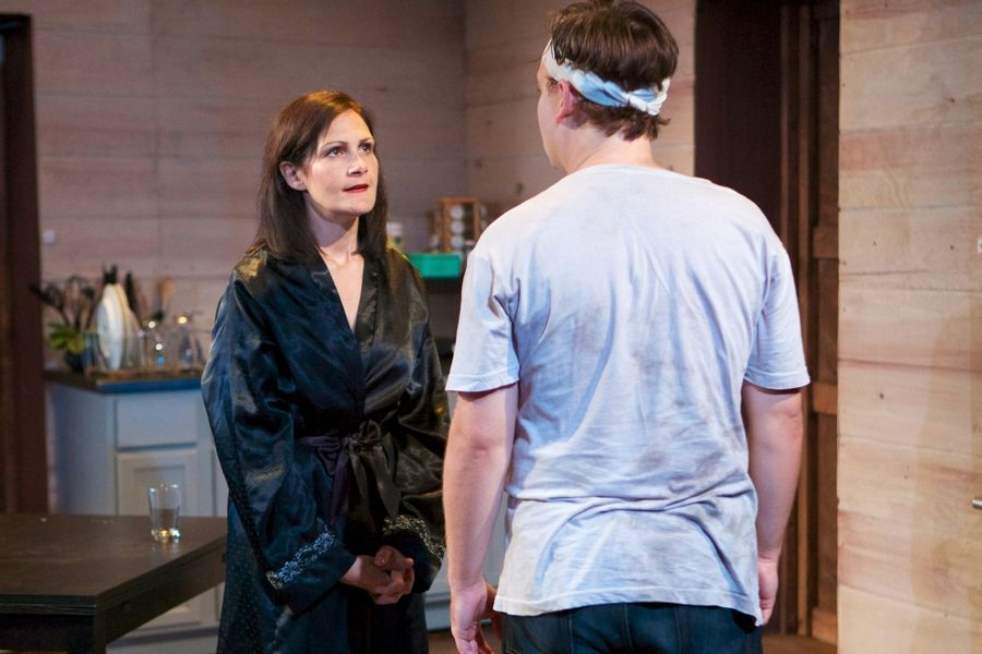 "Famous actress Emma (Stacy Stoltz) confronts her troubled son Con (Nate Whelden) in Sideshow Theatre Company's remount of Aaron Posner's ""Stupid (expletive) Bird."""