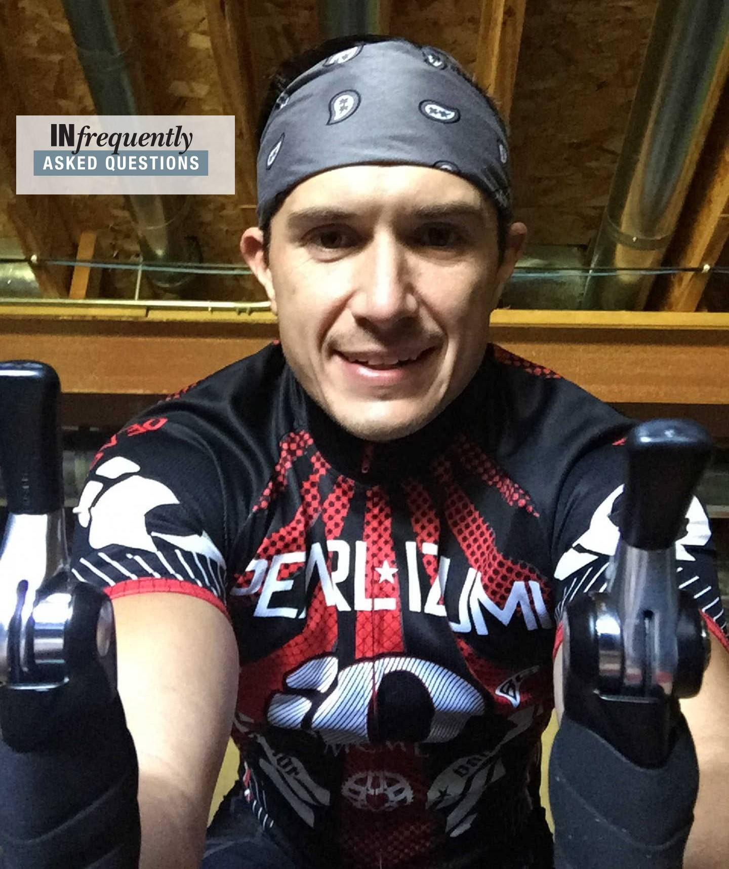 A selfie of Brandon Orna of Carpentersville, training on his racing bike in his basement.