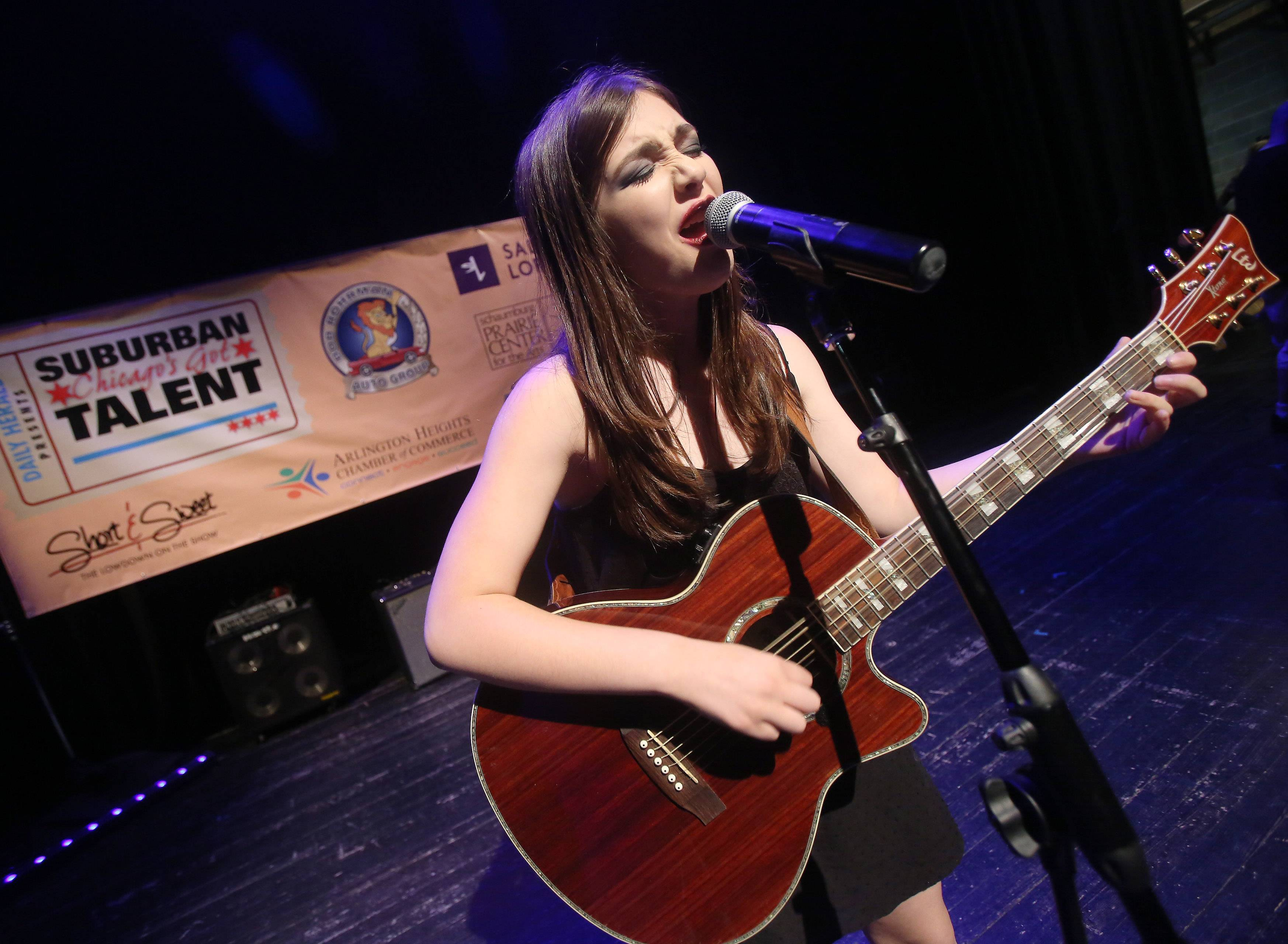 Rhea Garbis of Richmond performs during Suburban Chicago's Got Talent competition at the Prairie Center for the Arts in Schaumburg on Sunday. The top 10 finalists competed for a chance to win the opportunity to perform at the Arcada Theatre in St. Charles.