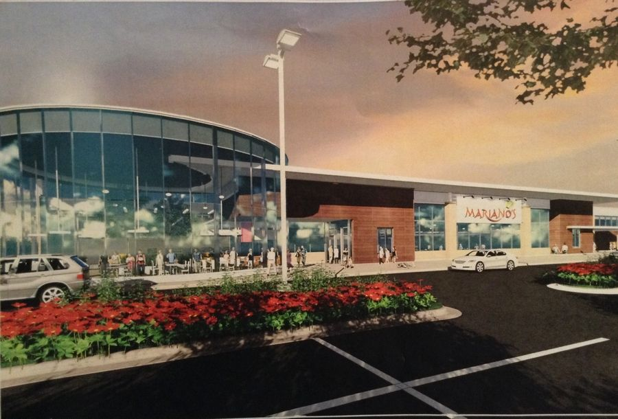 An artist's rendering shows the proposed Mariano's grocery store at the northeast corner of Golf and Mount Prospect roads in Des Plaines.