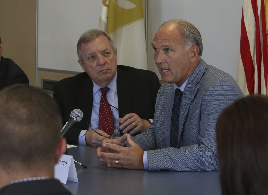Naperville Mayor Steve Chirico, right, and U.S. Sen. Dick Durbin at a roundtable discussion Friday in Naperville.