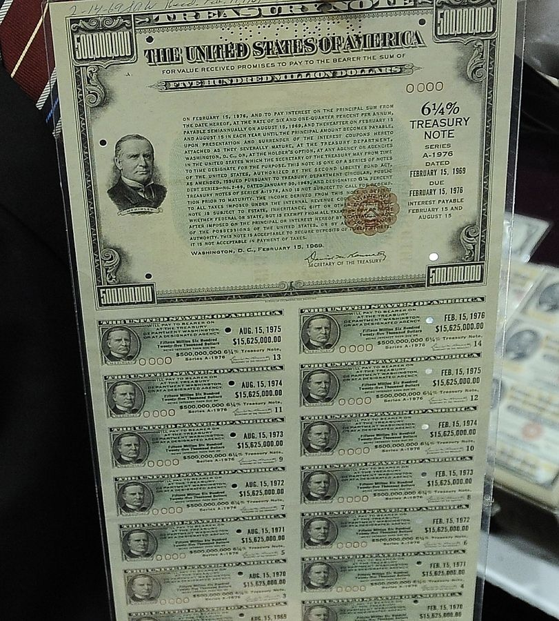"Only extremely wealthy individuals, foreign nations and well-off municipalities and states could buy one of these $500 million Treasury notes. The note is part of the ""Billion Dollar Showcase"" at the World's Fair of Money in Rosemont. The event, which is open to the public, is sponsored by the American Numismatic Association."