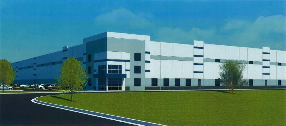 A rendering by Cornerstone Architects Ltd. shows plans for the 350,000-square-foot building that will be used for offices, production and warehousing.