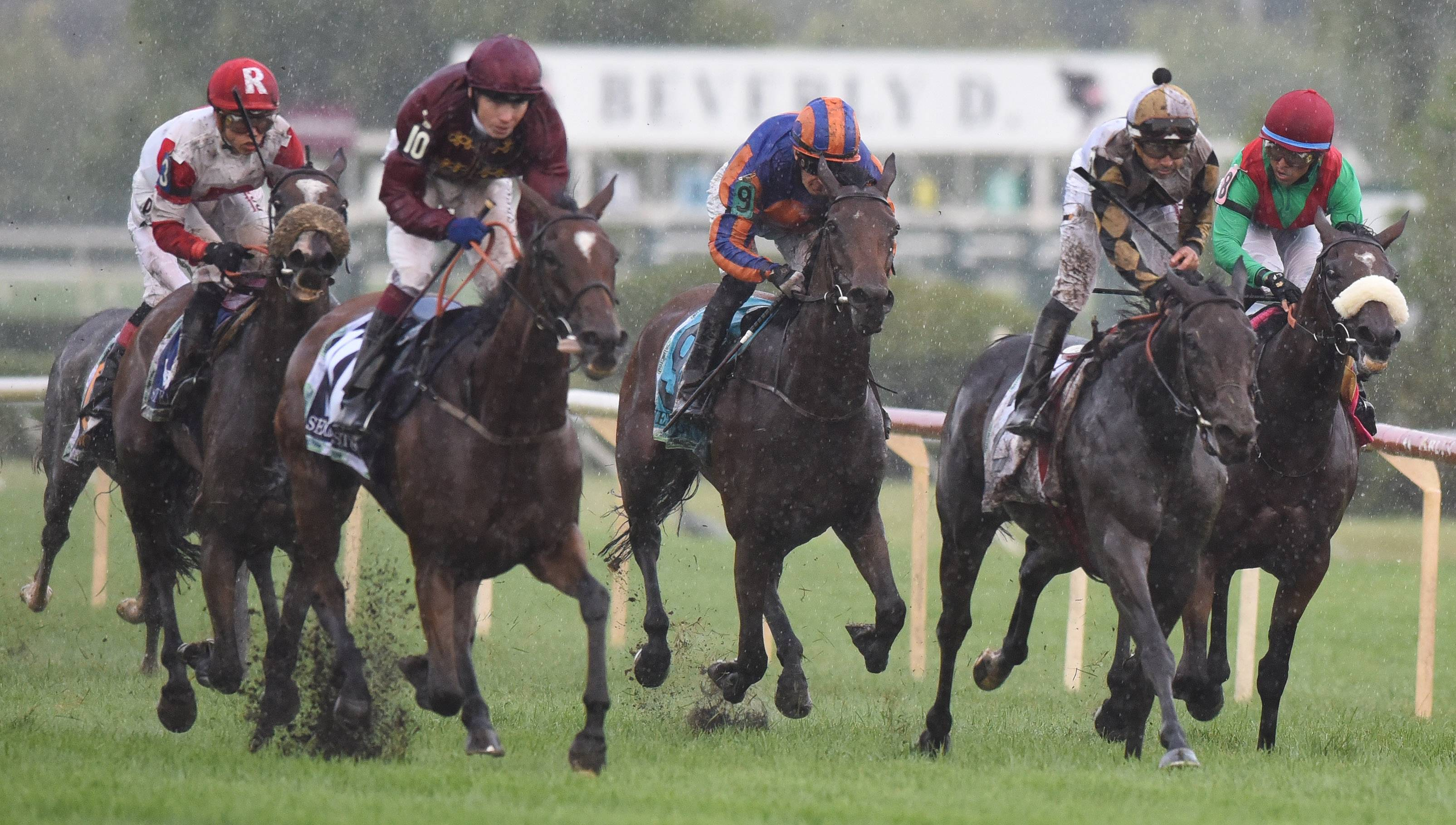 Watsdachances, second from right, with jockey Joe Bravo, is the winner of The Beverly D. during Arlington International Festival of Racing Saturday.