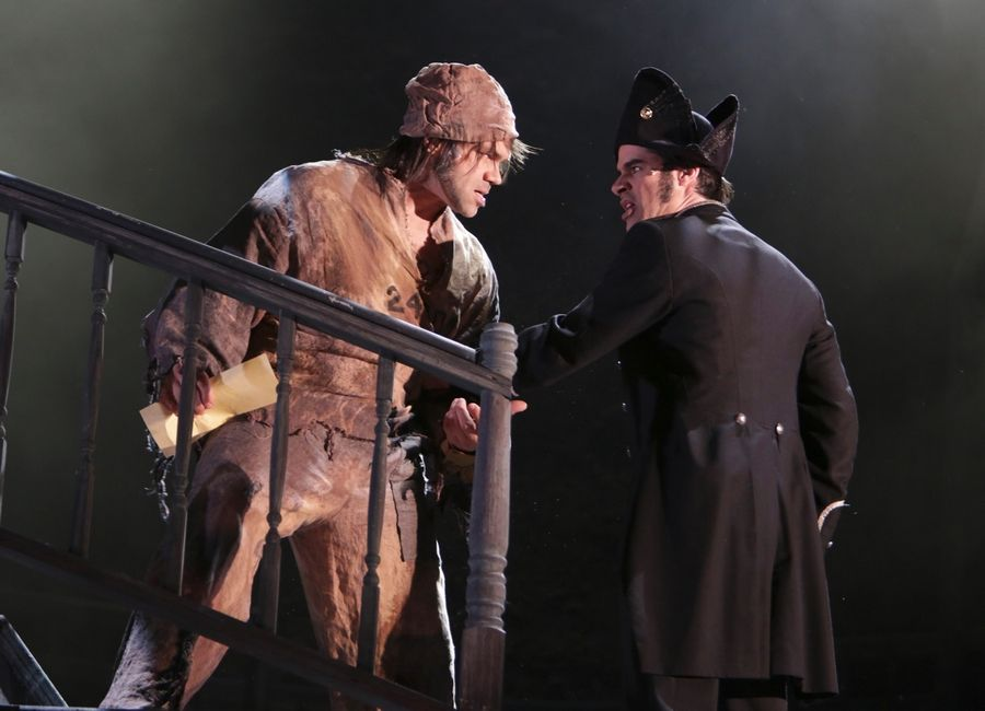 "Paramount Theatre in Aurora earned six equity Joseph Jefferson Award nominations for its revival of ""Les Miserables,"" which starred Rod Thomas as Inspector Javert, right, and Robert Wilde as Jean Valjean."