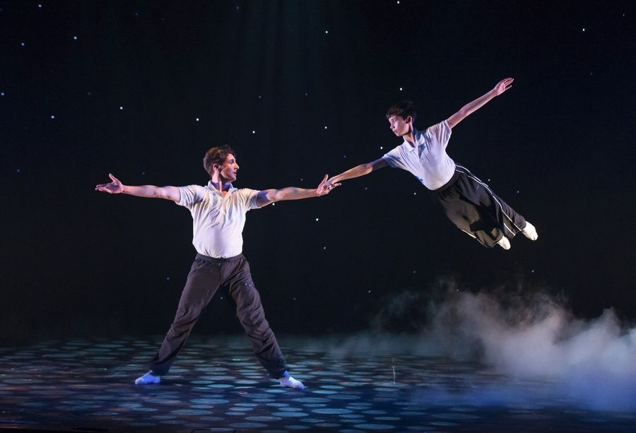 "Nicholas Dantes, right, and Rhett Guter perform the pas de deux in Drury Lane Theatre's regional premiere of ""Billy Elliot, The Musical."" The production earned five equity Joseph Jefferson Award nominations Friday, including a nod for Dantes."