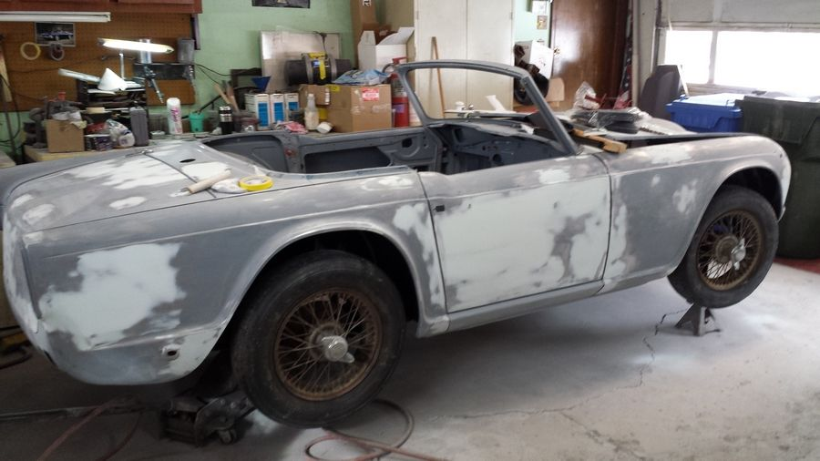 During the renovation, the TR4A's paint was changed from Carmine Red to Royal Blue.