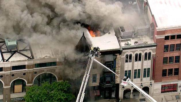 Crews battle a fire in Chicago's Old Town neighborhood that reportedly consumed the offices of Chicago's famed Second City Theater. Officials say the theater itself appears to be safe.