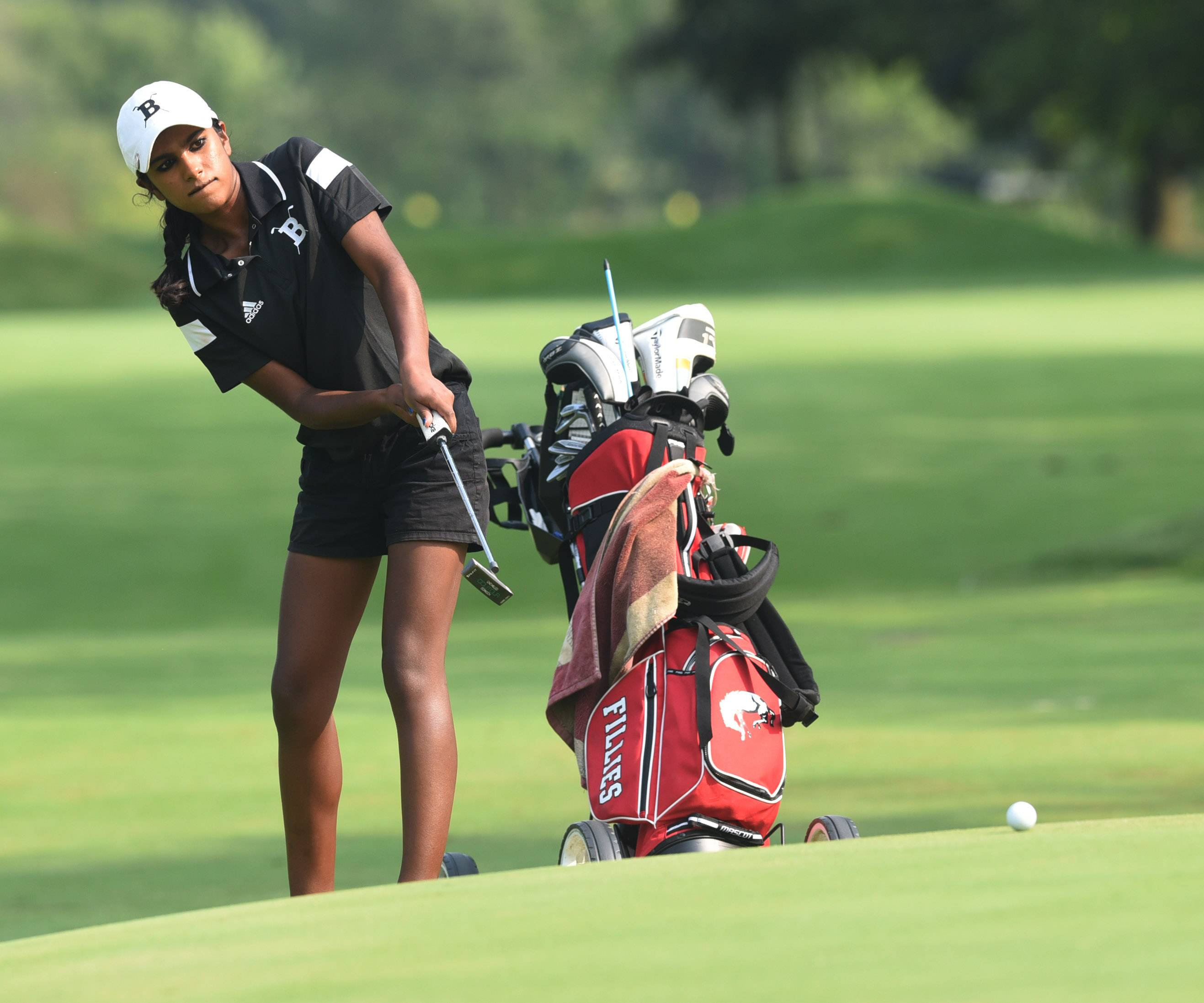 Barrington's Reena Sulkar putts while during competition with Prospect and Palatine at the Mount Prospect Golf Club on Thursday.