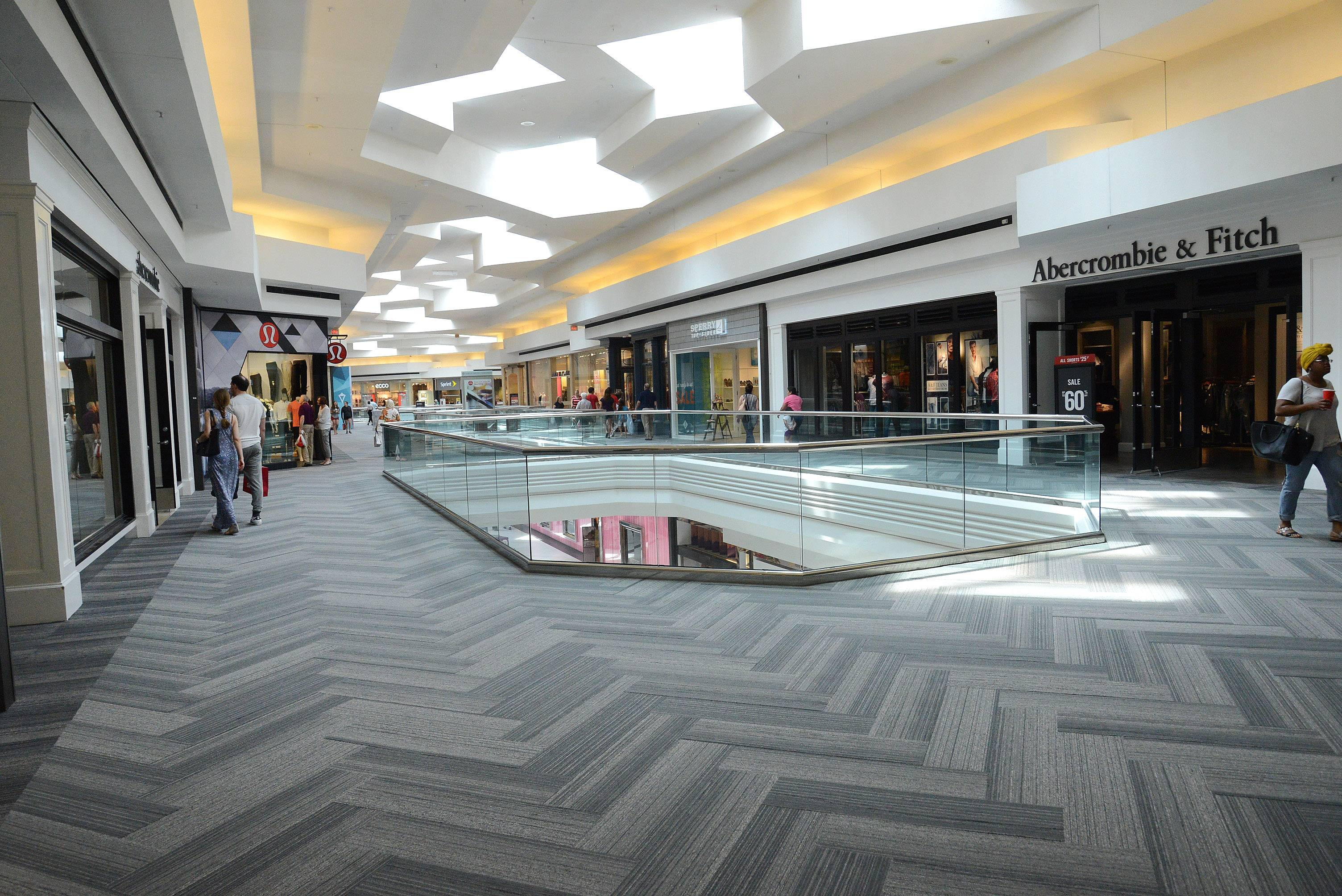 New carpeting is part of Woodfield Mall's remodeling project.
