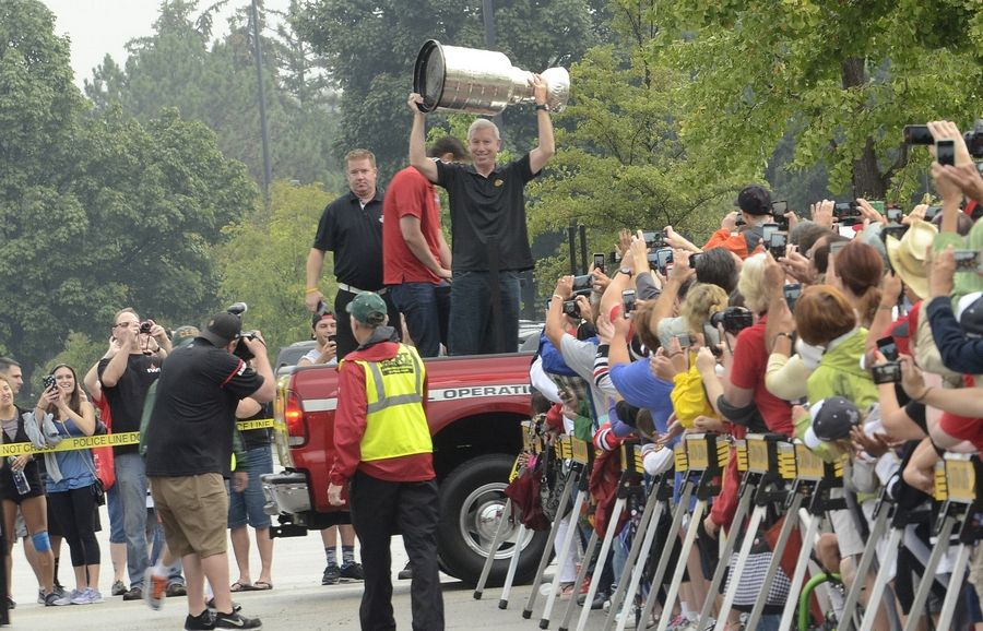 The Stanley Cup arrives Saturday in Elk Grove Village in the care of Blackhawks team President and CEO John McDonough. The rally Saturday was the third time McDonough has brought his team's championship trophy to his hometown.