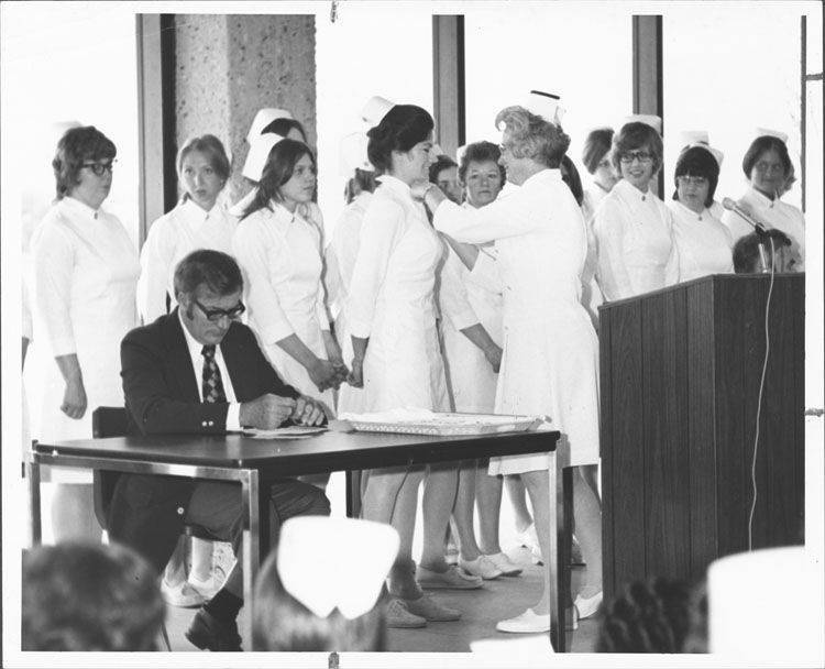 A pinning ceremony for graduates of Elgin Community College's nursing program, which marks its 50th anniversary this year.