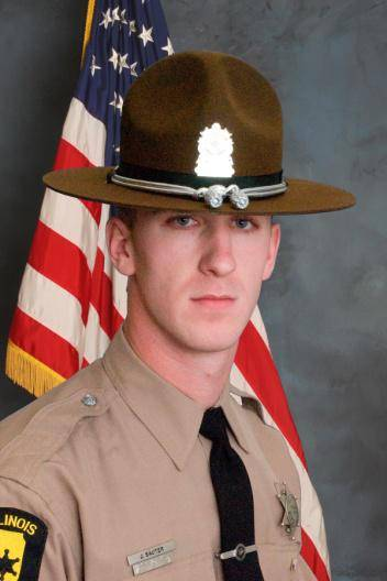 State trooper James Sauter of Vernon Hills was killed when his squad car was hit by a semitrailer truck on I-294 at Willow Road.