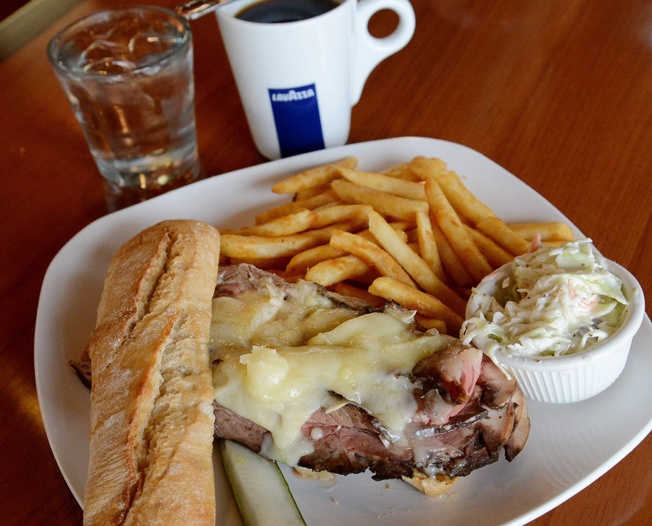 If you feel more like lunch than breakfast, Maple Cafe in Buffalo Grove plates a variety of hearty sandwiches, like the prime rib.