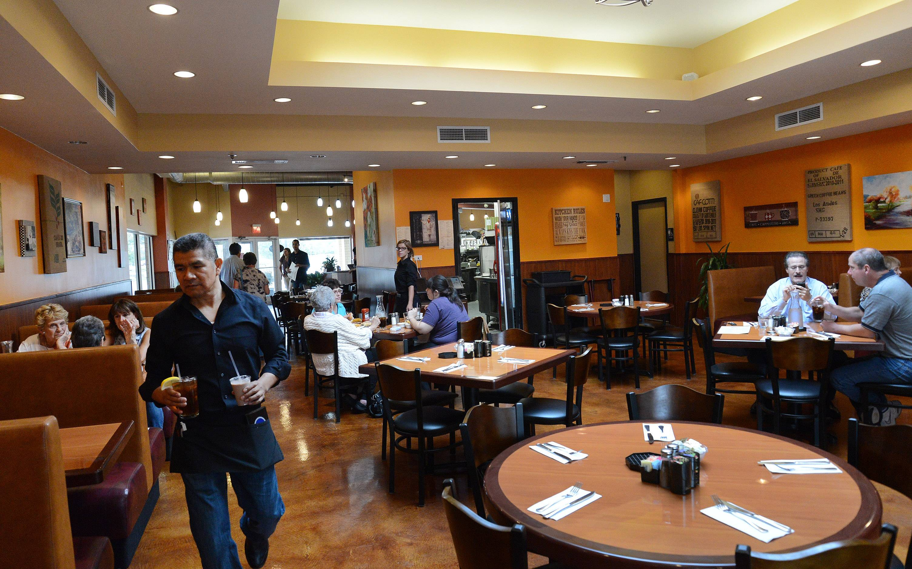Maple Cafe's bright interior makes for a pleasant atmosphere in which to enjoy brunch.