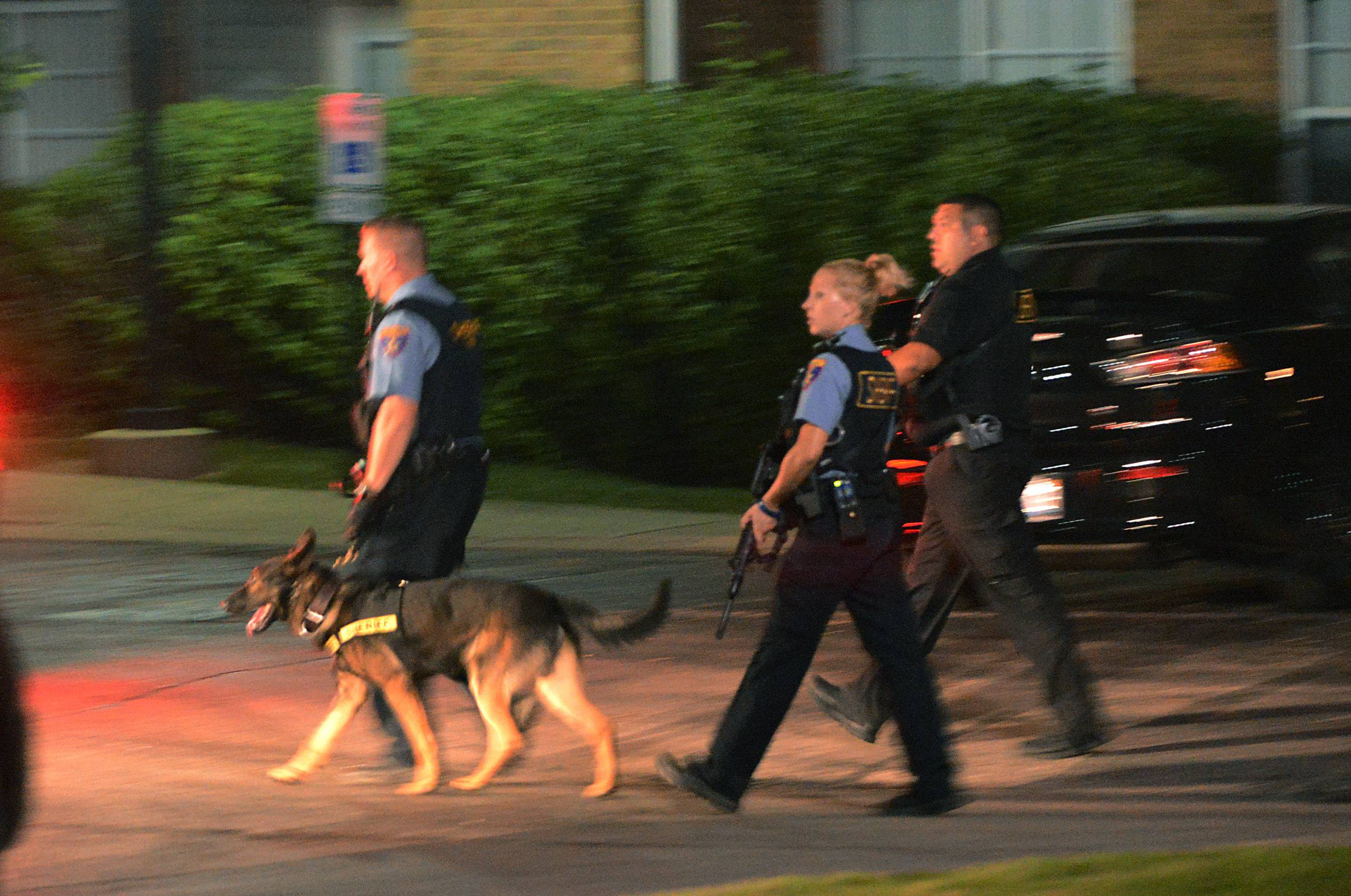 Police search a subdivision Wednesday night in Lakemoor.