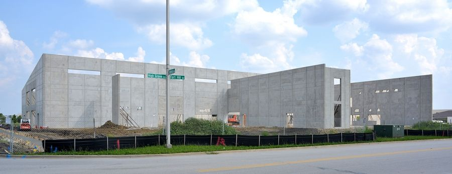 Precast walls to form the shell of the Naperville Park District's Fort Hill Activity Center have been up for more than a week, and officials say the project is on track to be complete by fall 2016.