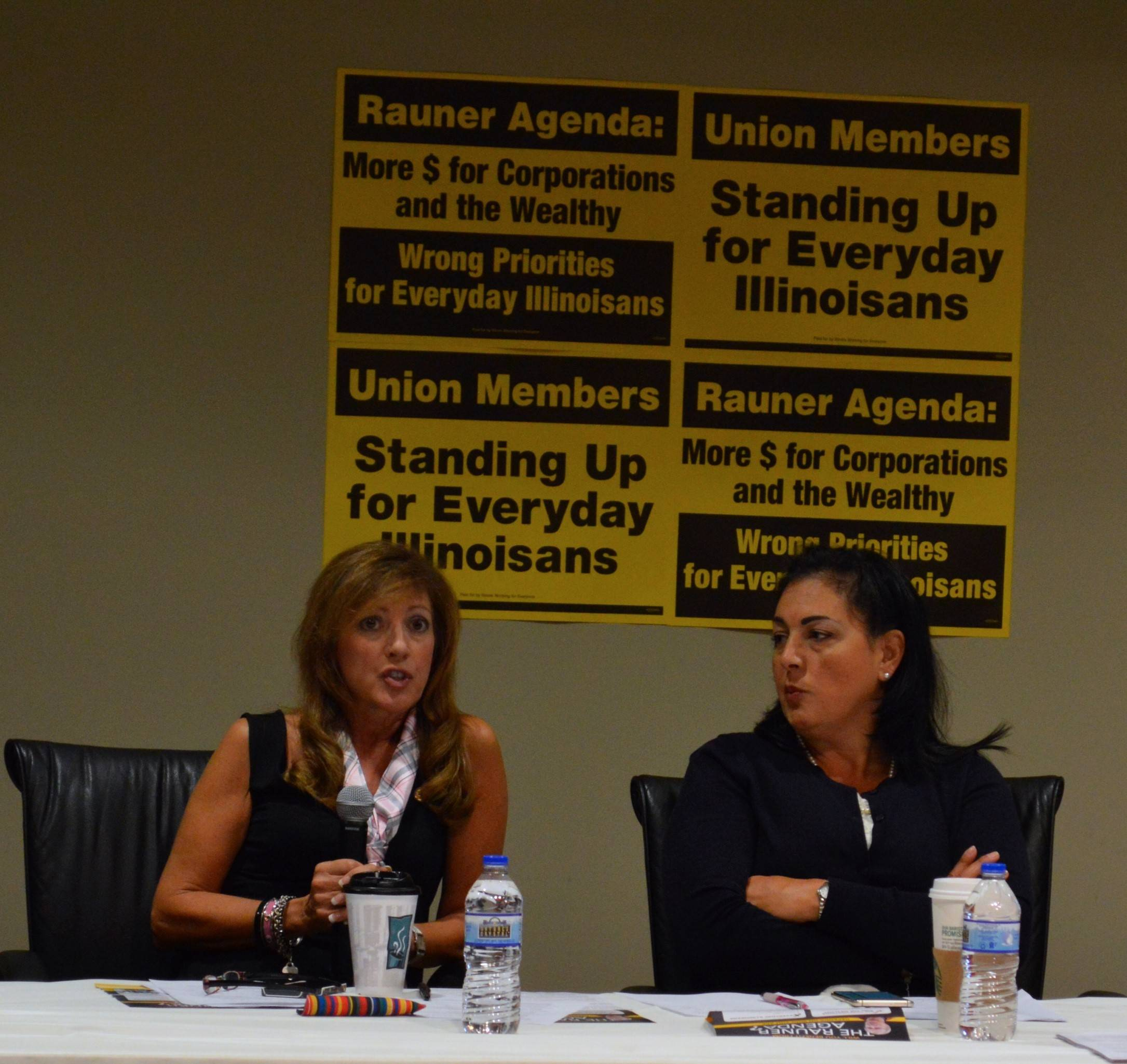 "Democratic State Sen. Linda Holmes, left, and State Rep. Linda Chapa LaVia, stood with a coalition of Aurora-area unions Thursday in calling for ""real Democrats"" to stand against Gov. Bruce Rauner's turnaround agenda."