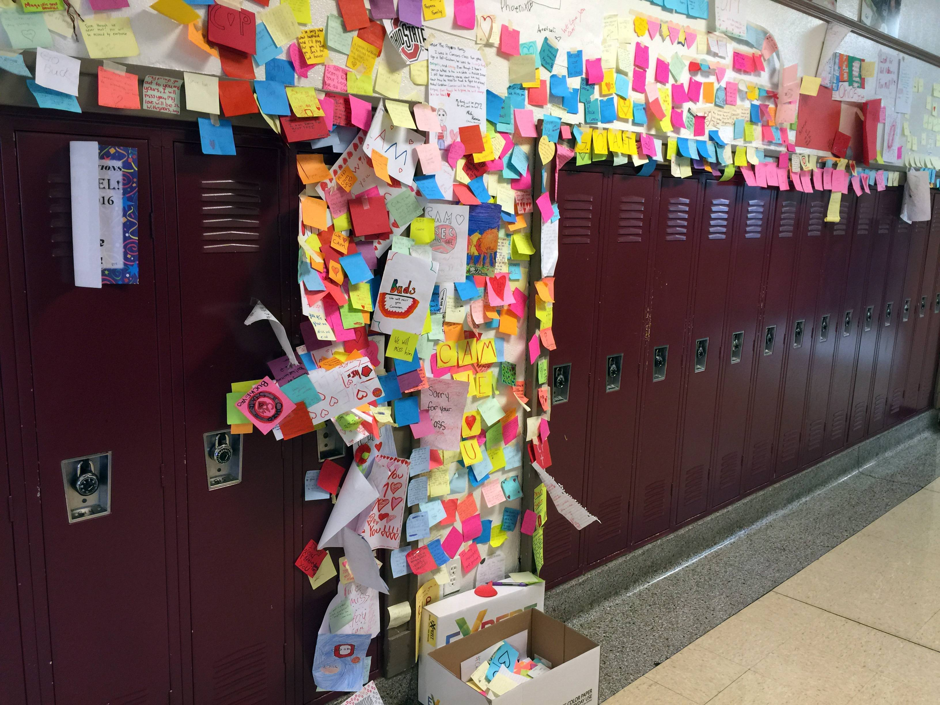 Students at Thompson Middle School decorated the locker of Cameron Pepera with messages of love and sorrow, Principal Tim Loversky said. Cameron died Wednesday.