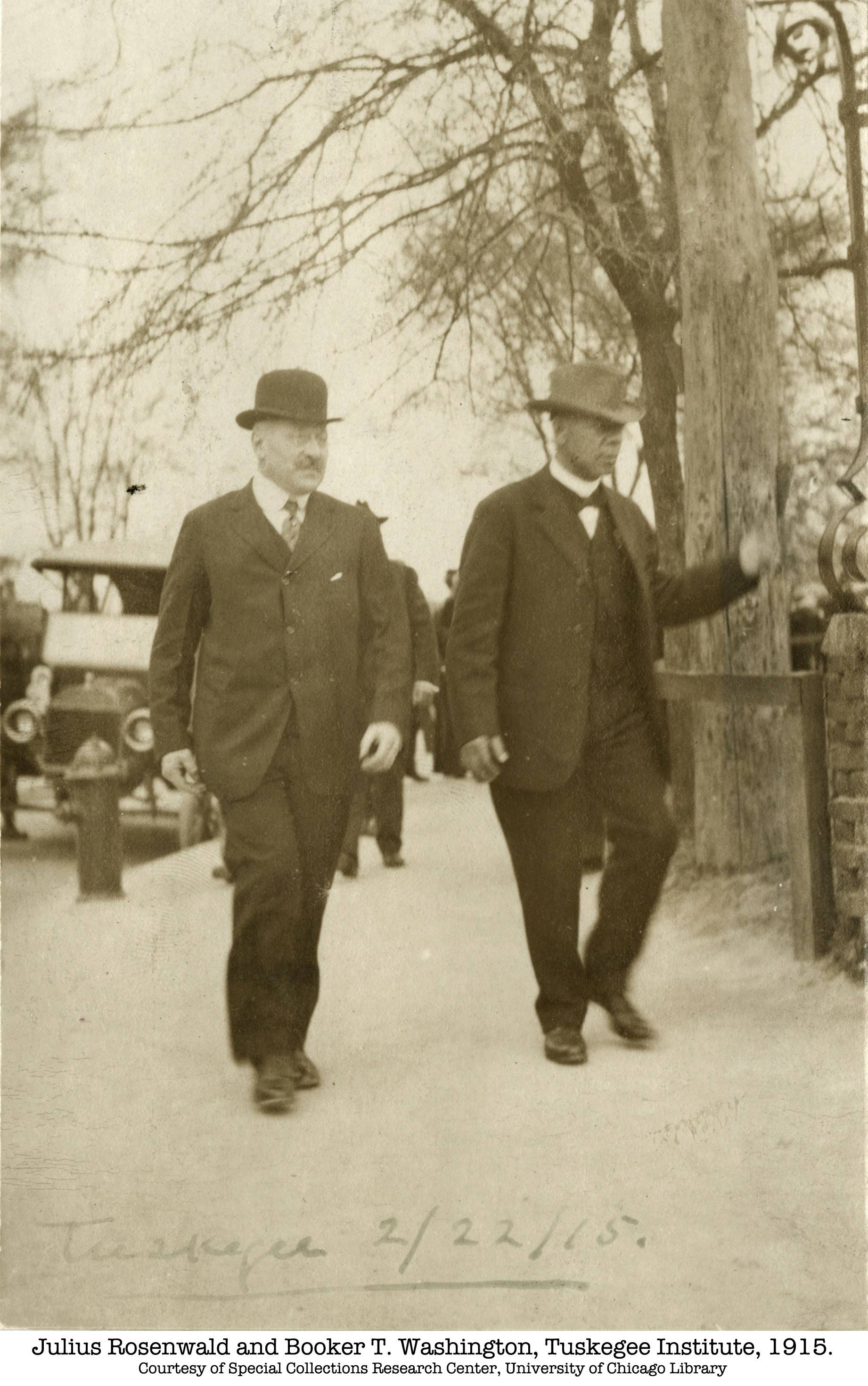 "Sears & Roebuck president J.R. Rosenwald accompanies writer Booker T. Washington to the Tuskegee Institute in the documentary ""Rosenwald."""