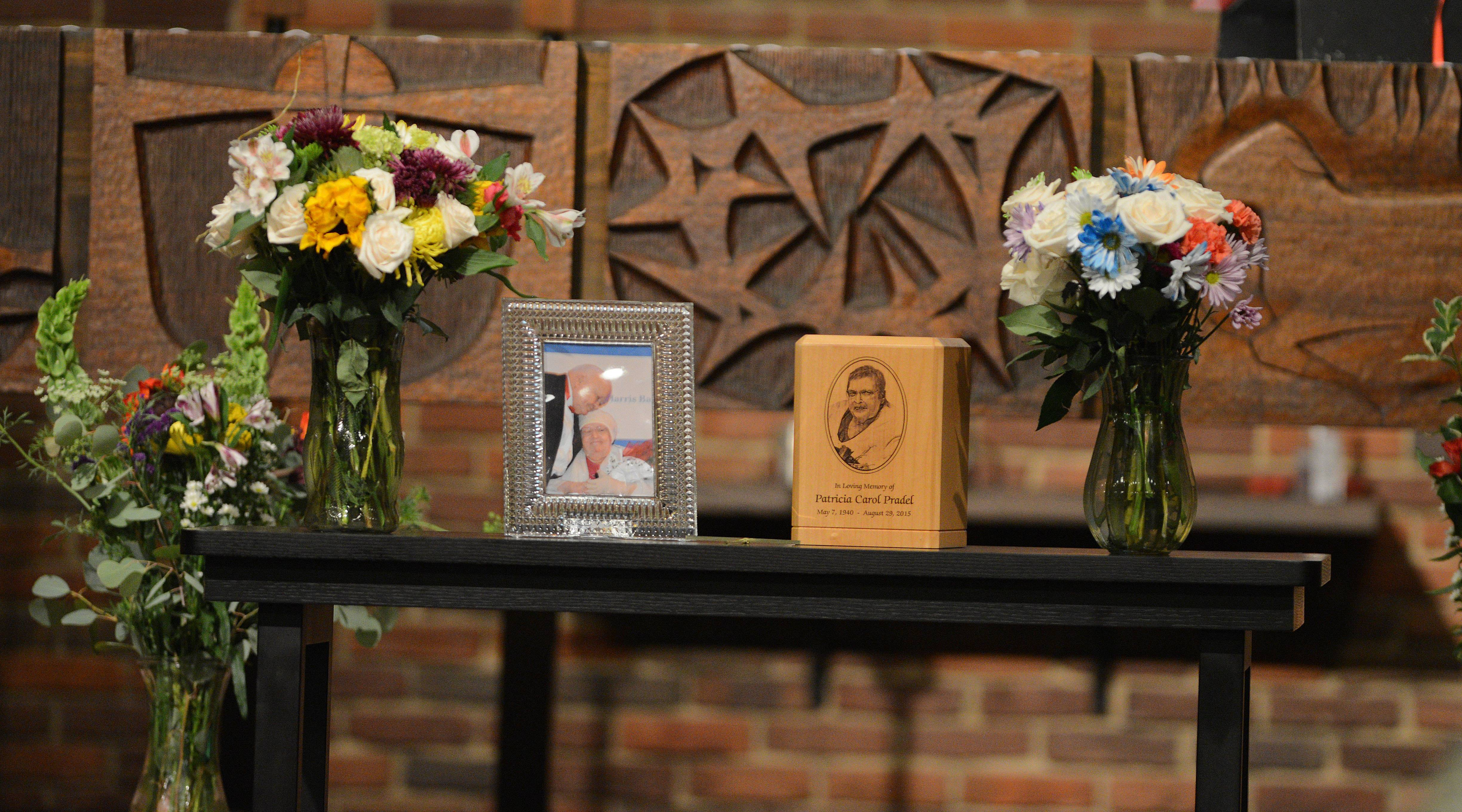 Family members of Patricia Carol Pradel, wife of longtime Naperville Mayor George Pradel, hosted a visitation and celebration of life ceremony Thursday at Our Saviour's Lutheran Church.