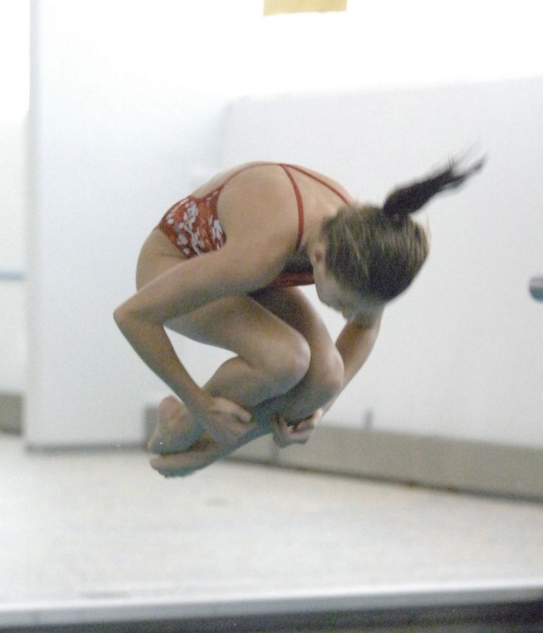 Sydney Dusel of Naperville Central took part in the Metea Valley girls diving invitational Saturday.