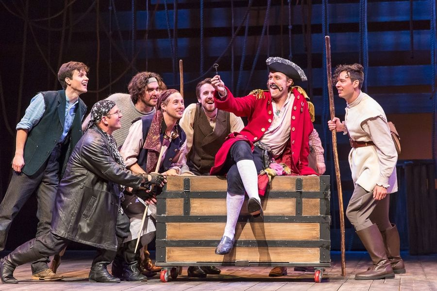"Matt Mueller, second from right, plays Black Stache, a foppish, malapropism-prone pirate pursuing The Boy who will become Peter in the well-told ""Peter and the Starcatcher"" at Drury Lane Theatre in Oakbrook Terrace."