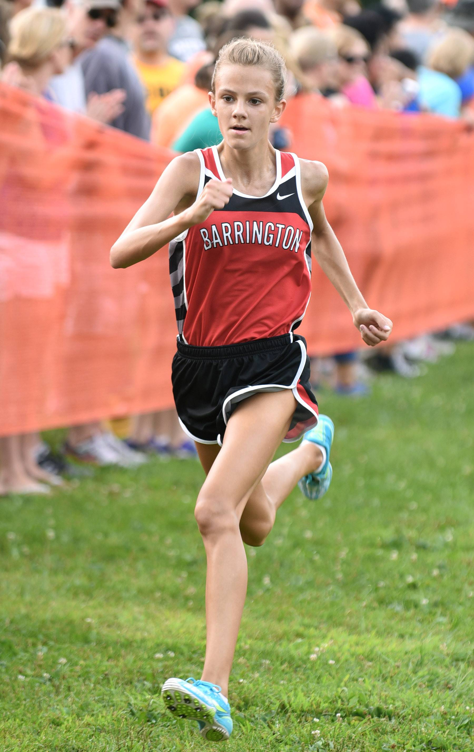 Laura Stoecker/lstoecker@dailyherald.comBarrington's Jocelyn Long takes first place in the girls varsity run in the St. Charles East Leavey Invitational at LeRoy Oakes Forest Preserve in St. Charles Saturday.