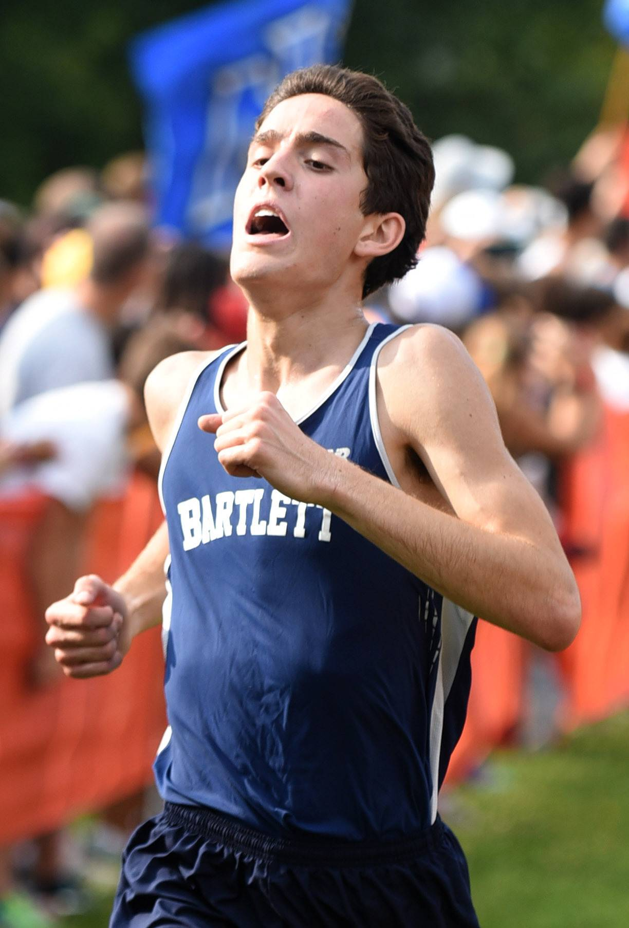 Laura Stoecker/lstoecker@dailyherald.comBartlett's Justin Isla nears the finish line in the boys varsity run in the St. Charles East Leavey Invitational at LeRoy Oakes Forest Preserve in St. Charles Saturday.
