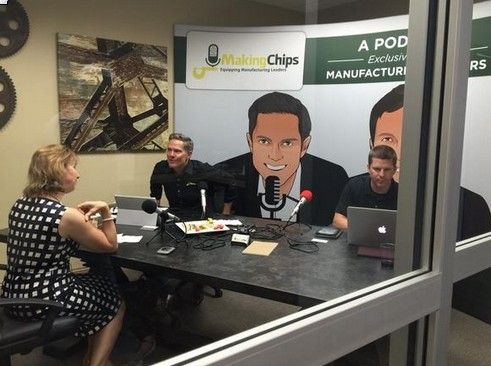 Jim Carr, owner and CEO of Carr Machine & Tool Inc. in Elk Grove Village, at left, and Jason Zenger, owner of Zenger's Inc. in Melrose Park., at right, interview Sarah Miller Caldicott during the podcast, MakingChips.