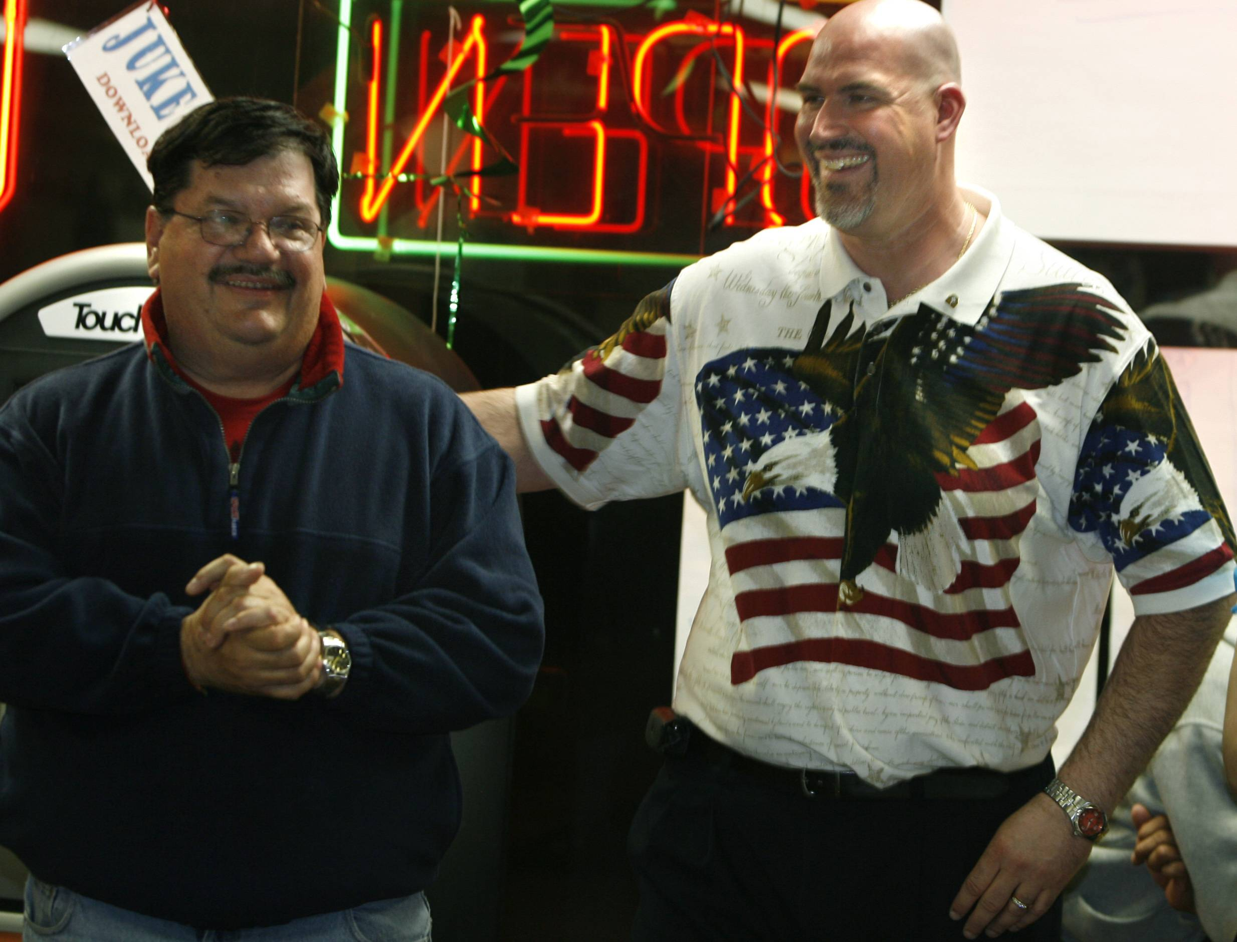 Hanover Park Village President Rod Craig, left, and Trustee Ed Zimel shared a ticket, and a victory celebration, in 2009.
