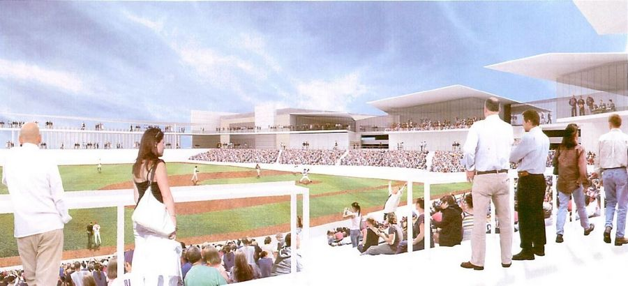 A rendering shows a proposed 7,000-seat baseball stadium in Rosemont that is expected to become home to a new team in the American Association of Independent Professional Baseball.