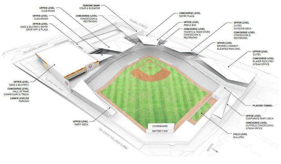 A rendering shows the layout of a proposed minor league baseball stadium adjacent to the Tri-State Tollway and Balmoral Avenue in Rosemont.