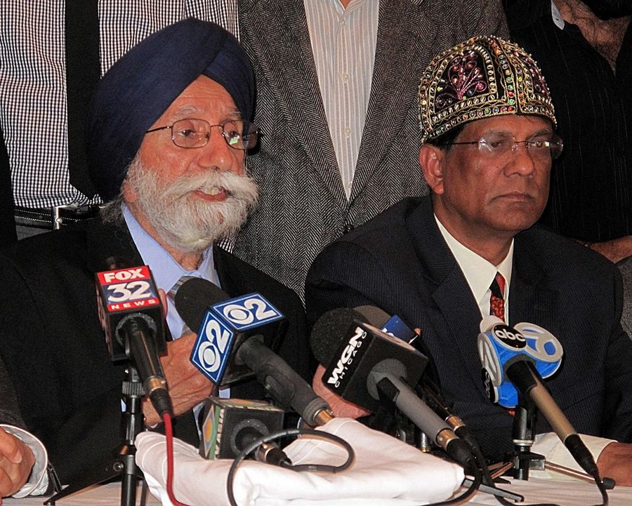 Sadhu Singh Rikhiraj, left, says he was shocked to hear his son, Inderjit Singh Mukker of Darien, was beaten and called racial slurs in what is being investigated as a potential hate crime. Moon Khan, right, organized a news conference of Indian-American leaders Thursday evening to condemn the attack.
