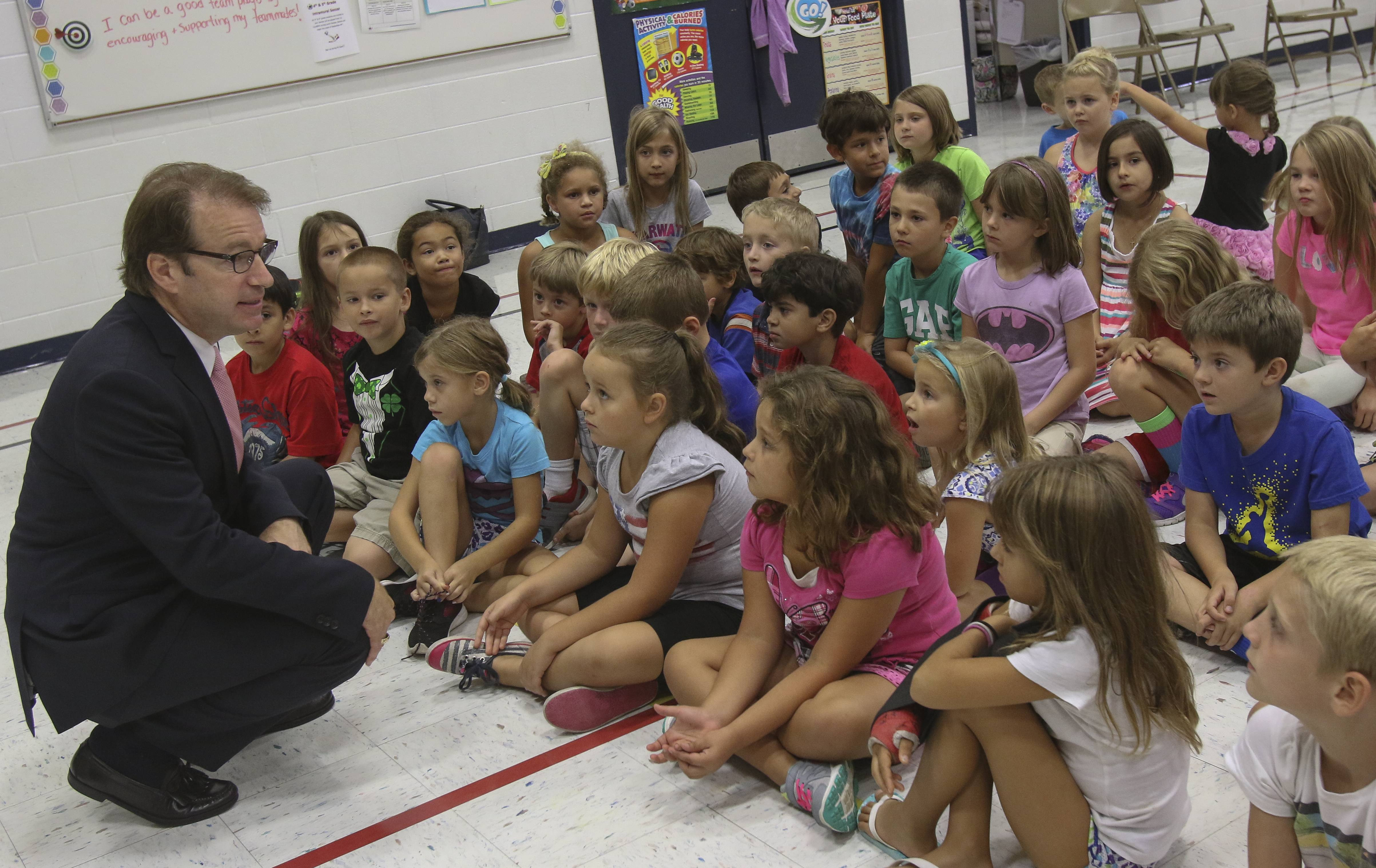 U.S. Rep. Peter Roskam speaks to second-graders about government at Emerson Elementary School in Wheaton.