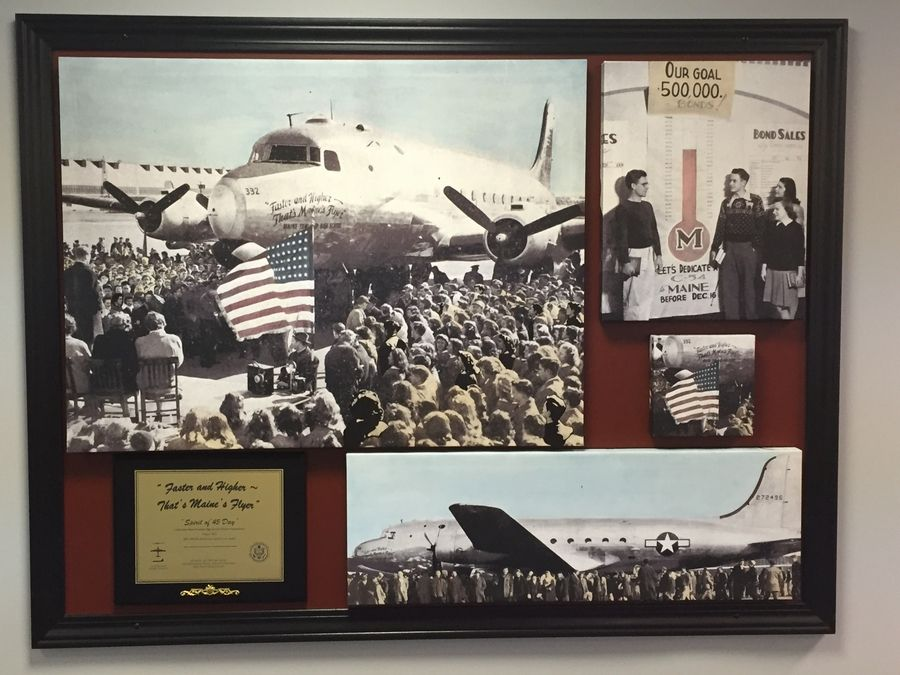 A photo collage honoring the Maine Flyer war bond drive effort is on display in the Maine South High School library in Park Ridge.