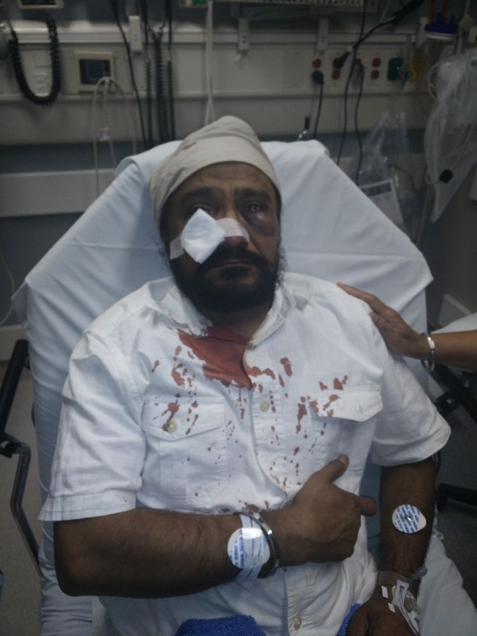 Inderjit Singh Mukker of Darien after he was attacked in what authorities are now calling a hate crime.